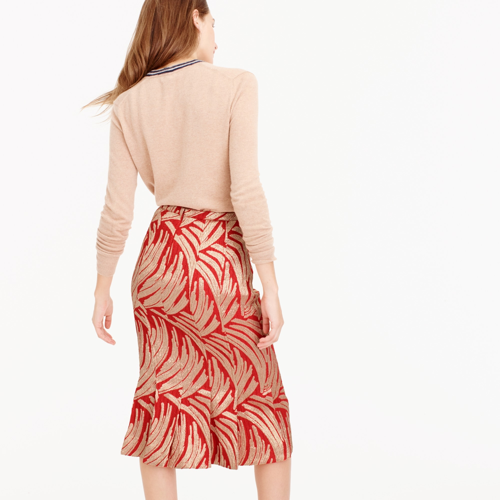 Panel skirt in palm leaf jacquard