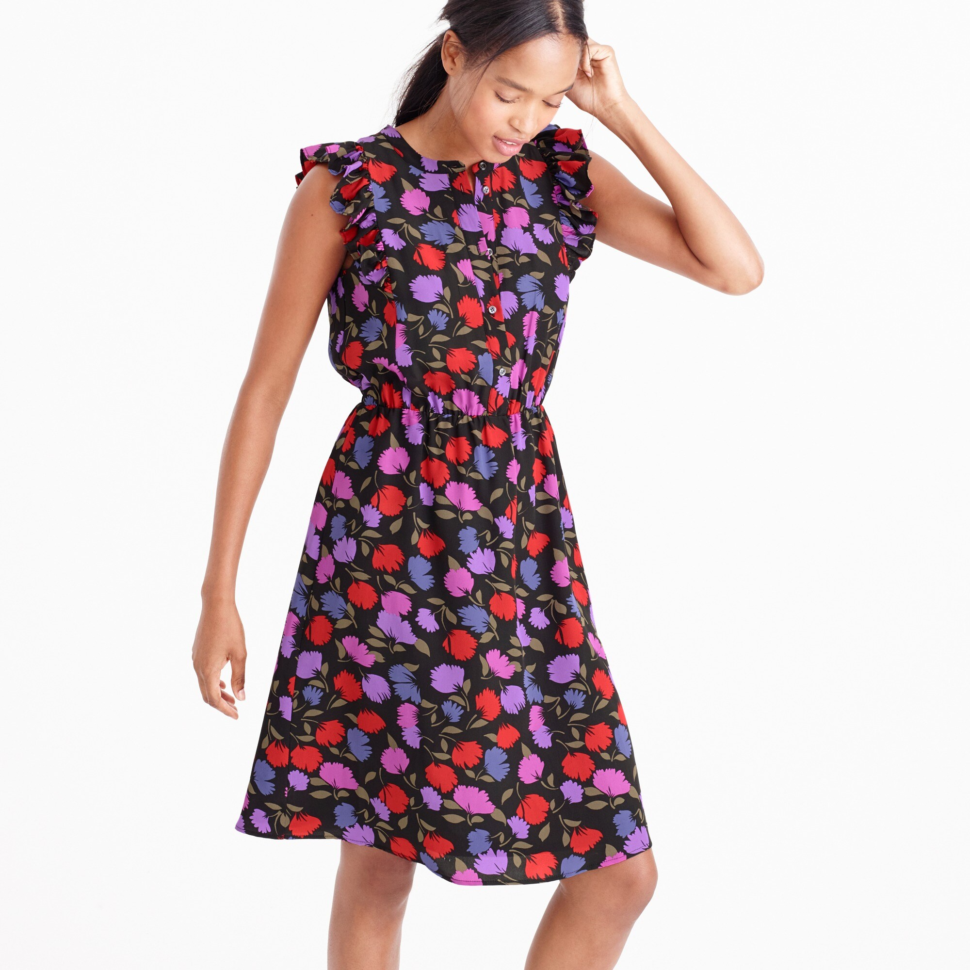 Flutter-sleeve dress in painted pansy
