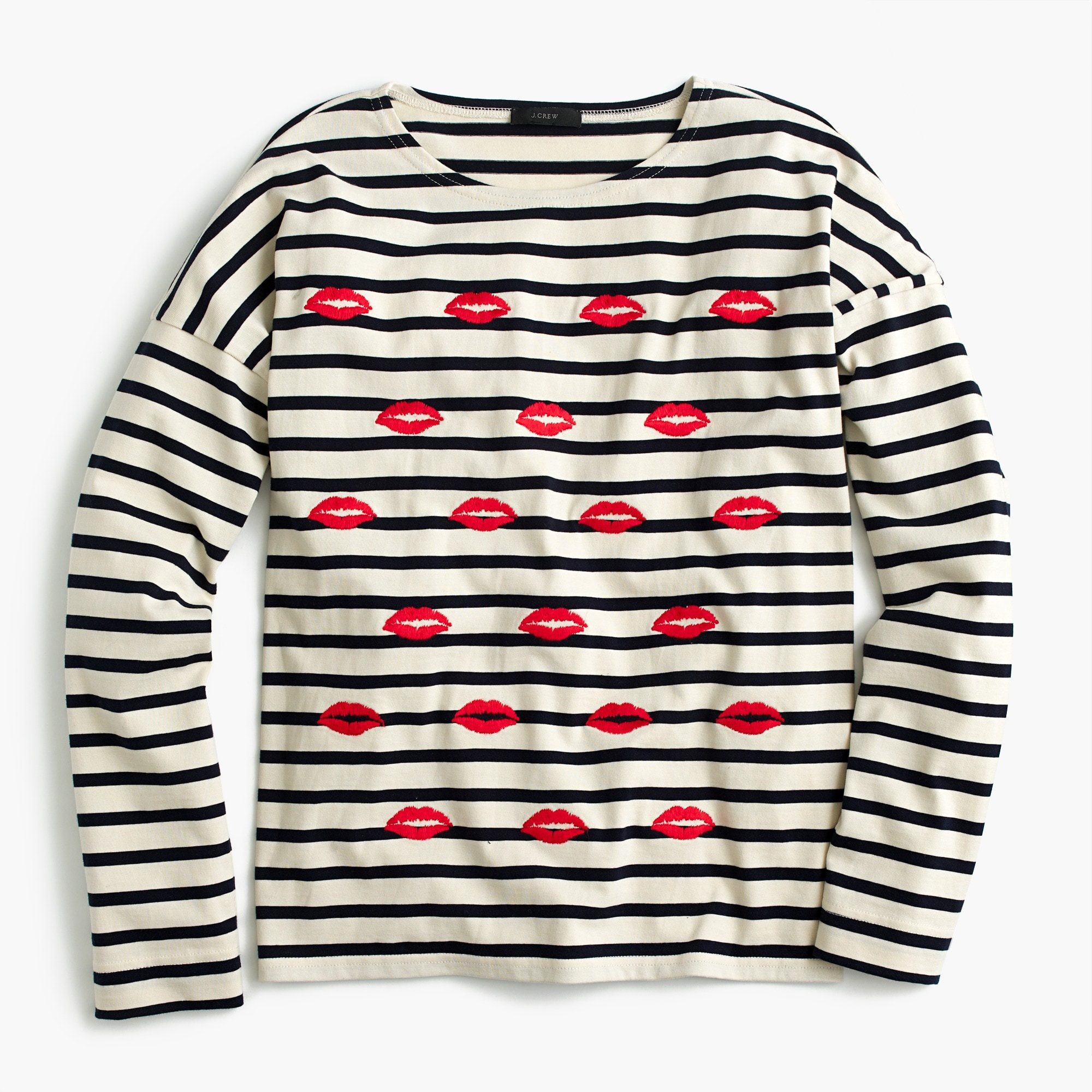 Embroidered lips striped T-shirt