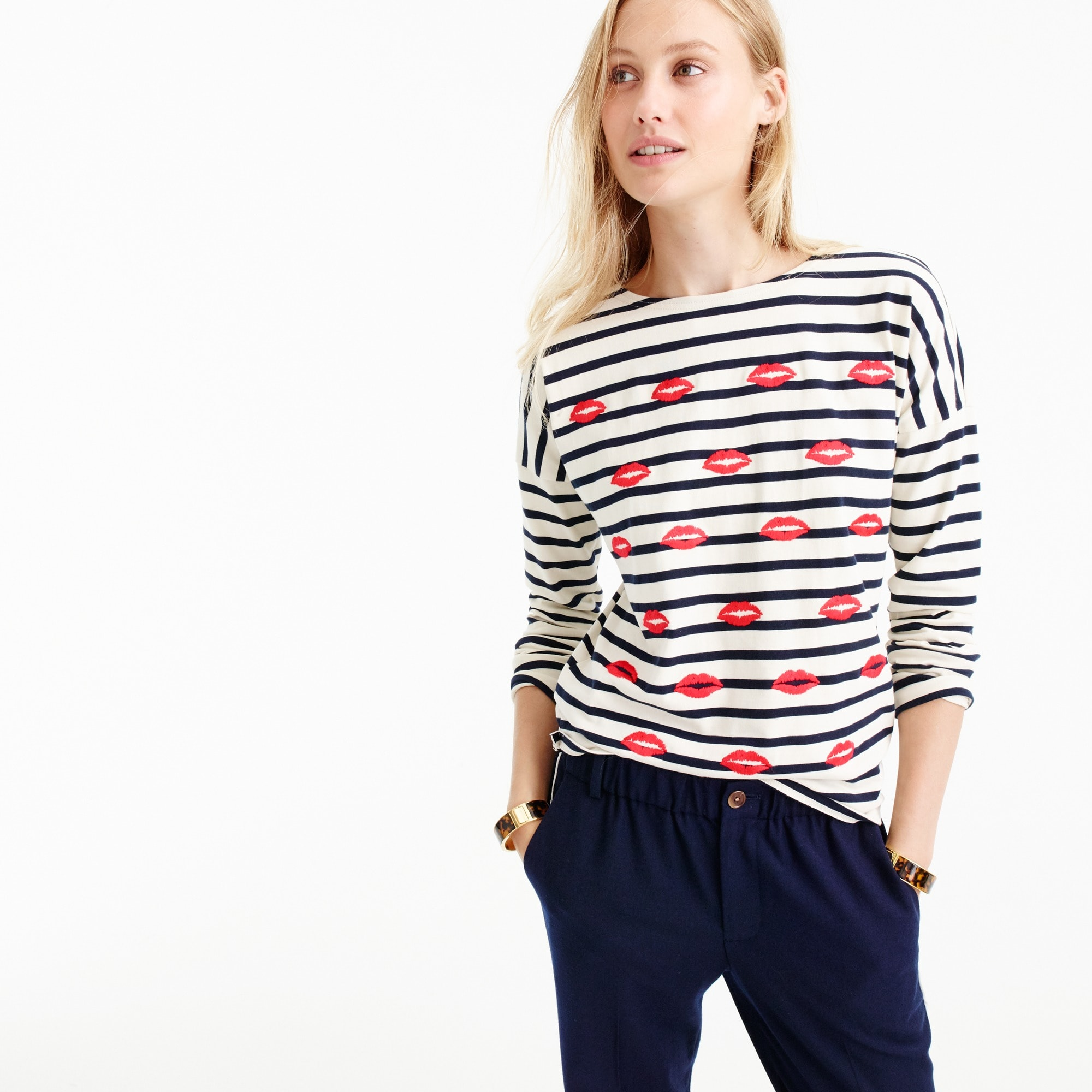 Image 1 for Embroidered lips striped T-shirt