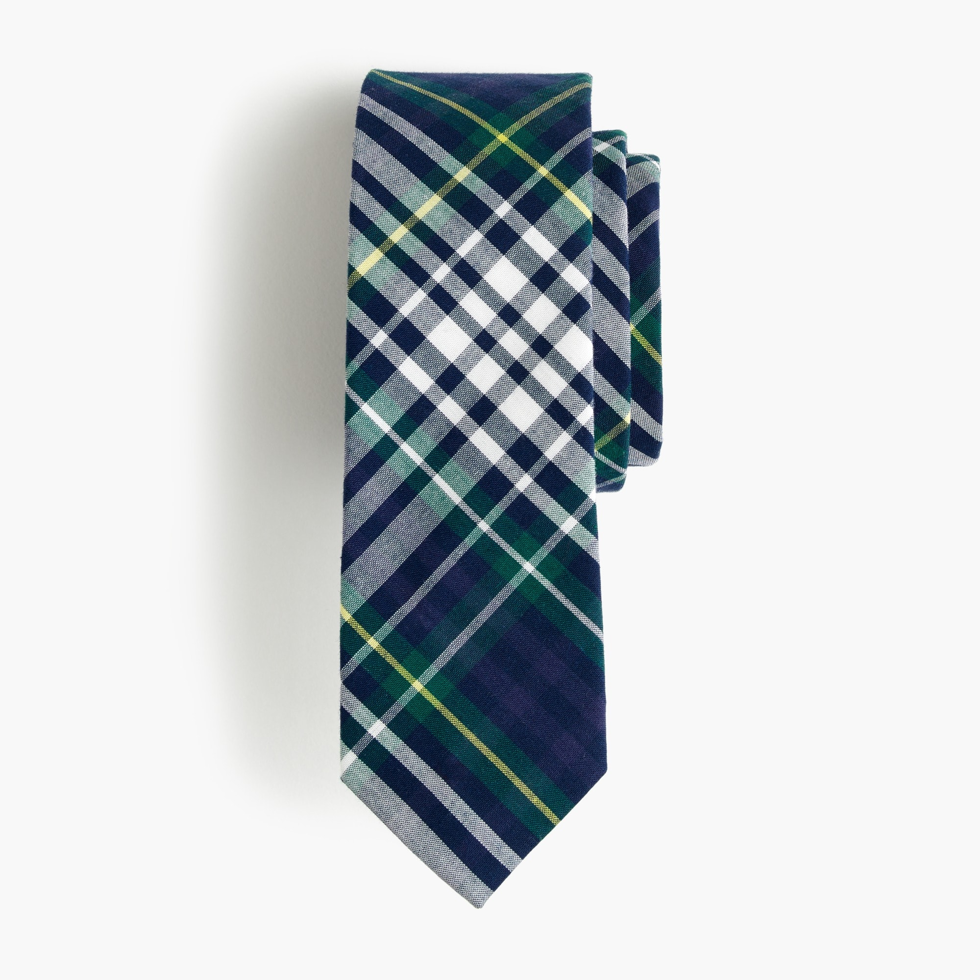 boys' cotton tie in classic blue plaid : boys' ties