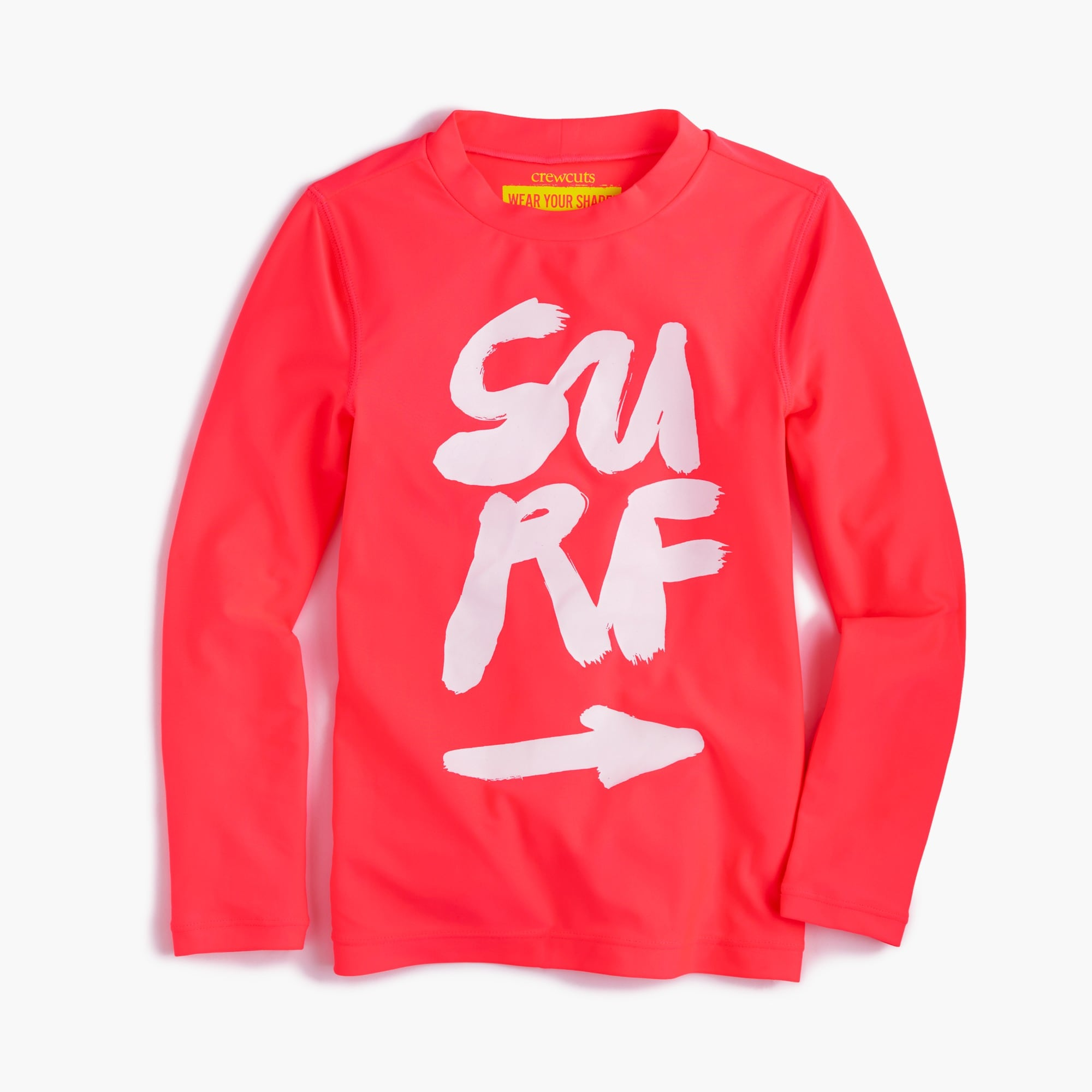 "Girls' rash guard in ""surf"" and ""swim"""