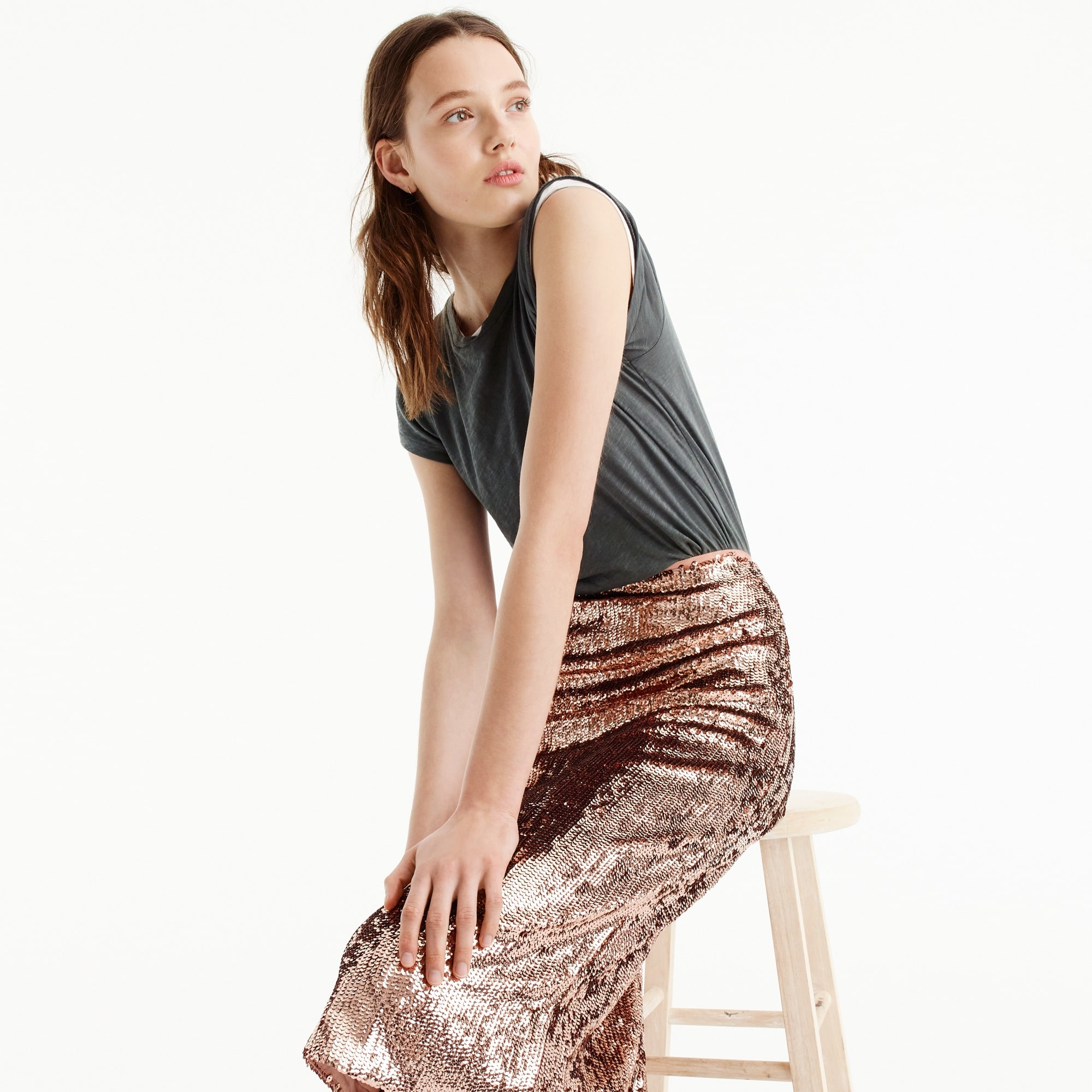 tall rose-gold sequin skirt : women skirts