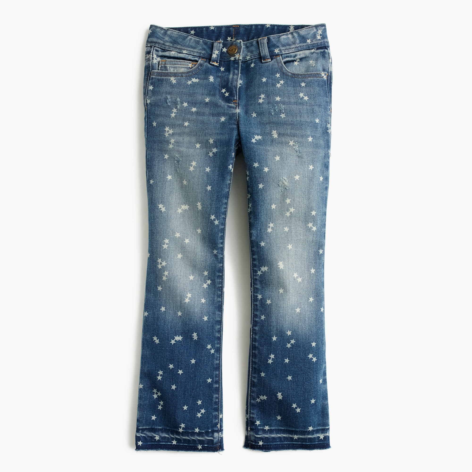 girls' star print stretch toothpick jean : girls' denim