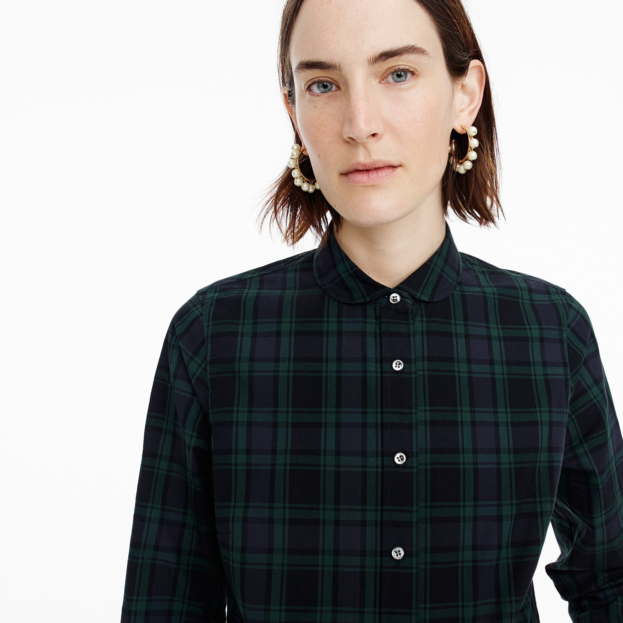 Image 3 for Petite club-collar perfect shirt in Black Watch plaid