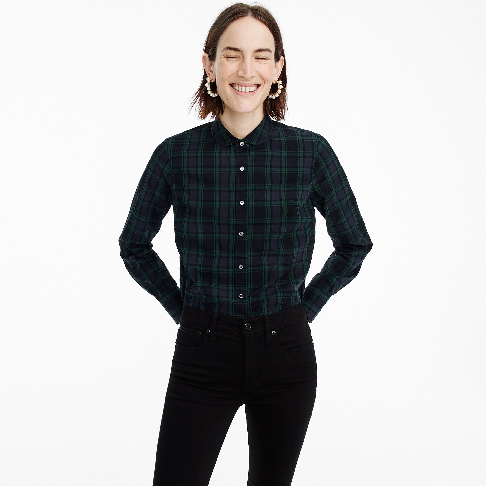 Image 1 for Petite club-collar perfect shirt in Black Watch plaid