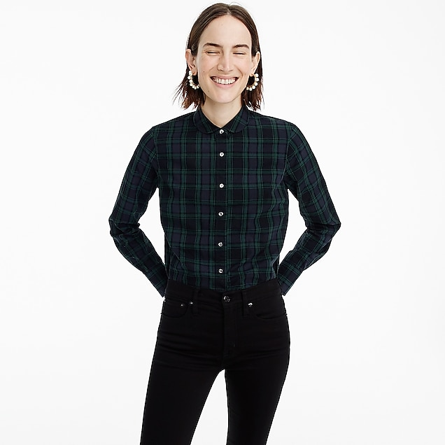 Tall club-collar perfect shirt in Black Watch plaid