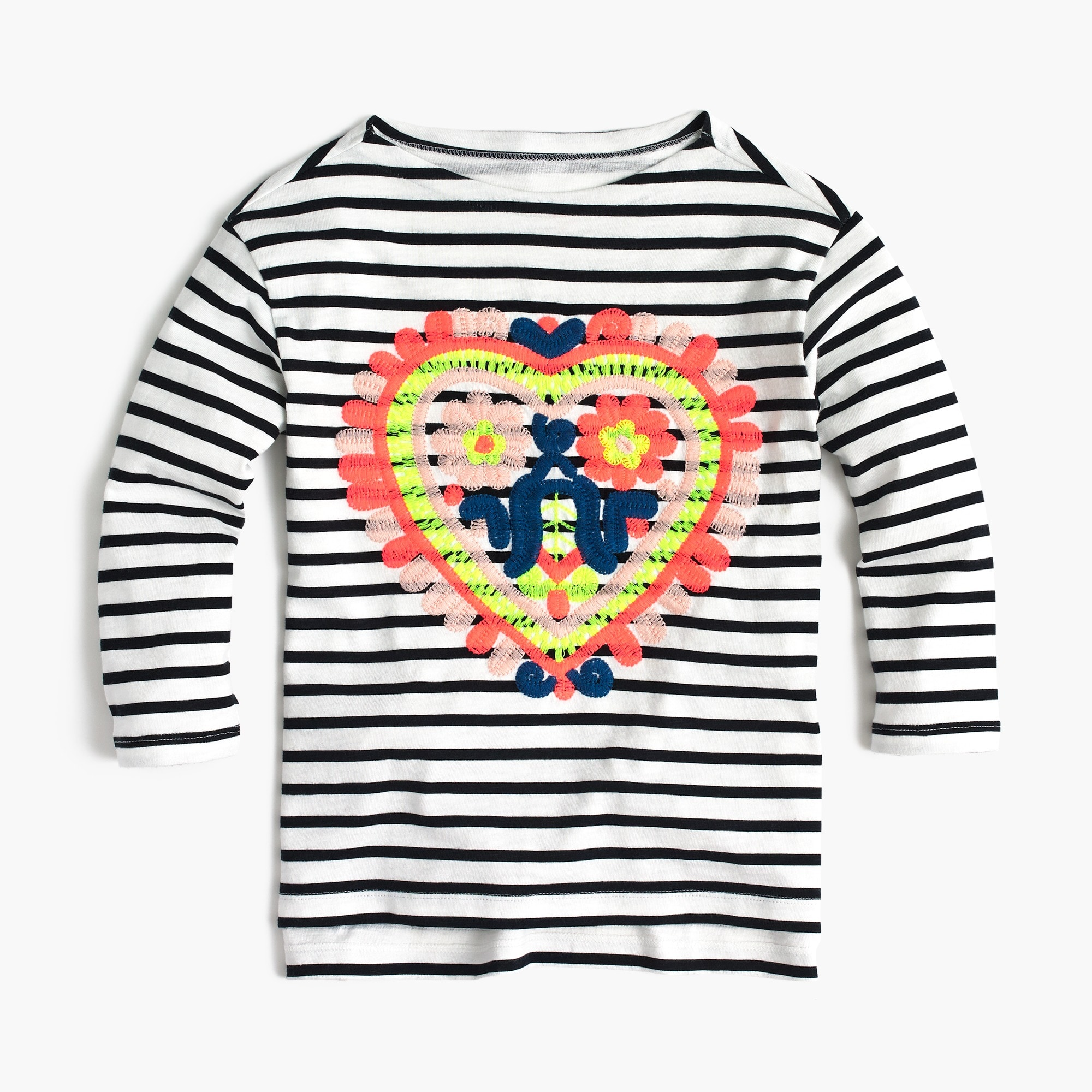 Girls' striped T-shirt with embroidered heart girl new arrivals c