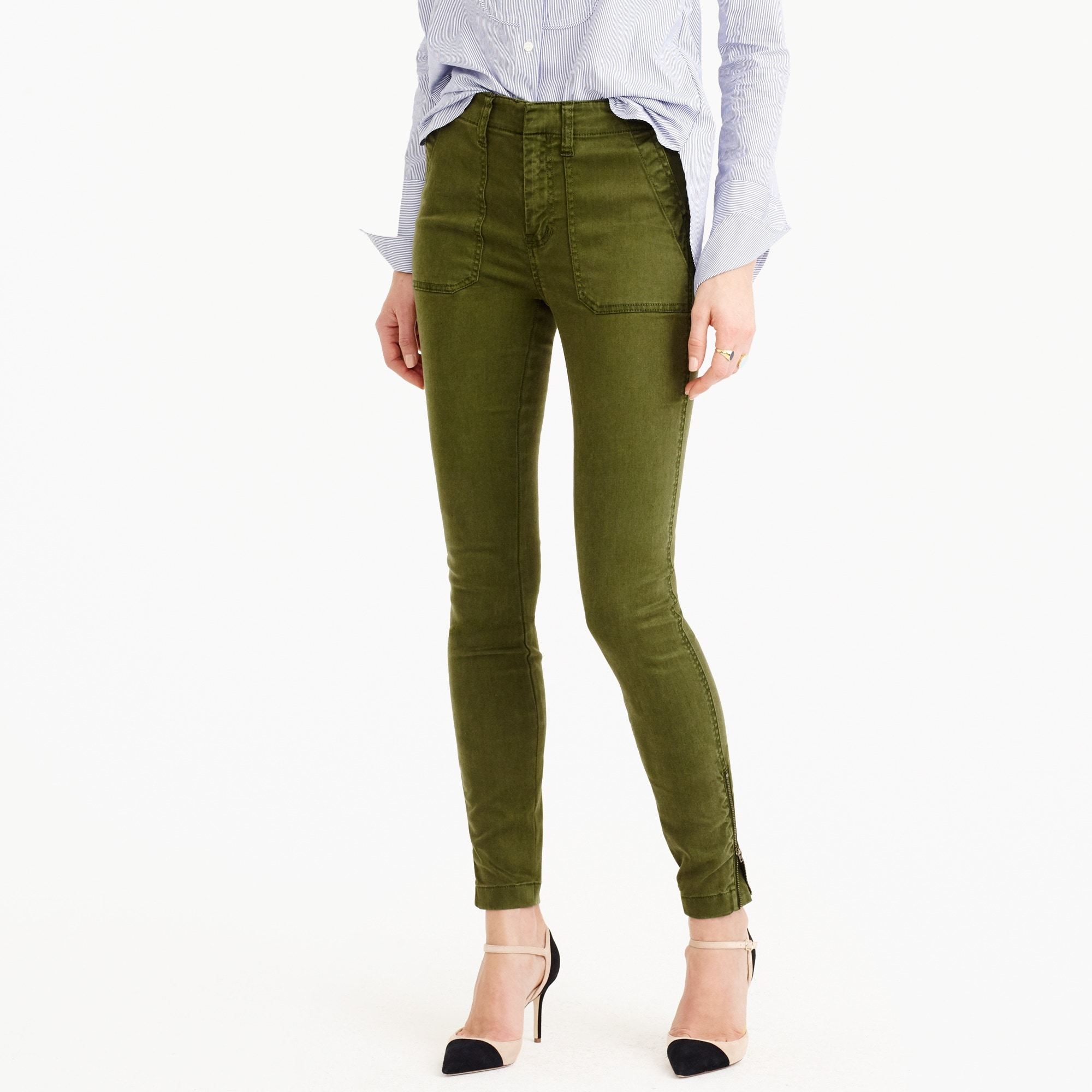tall skinny stretch cargo pant with zippers : women's pants