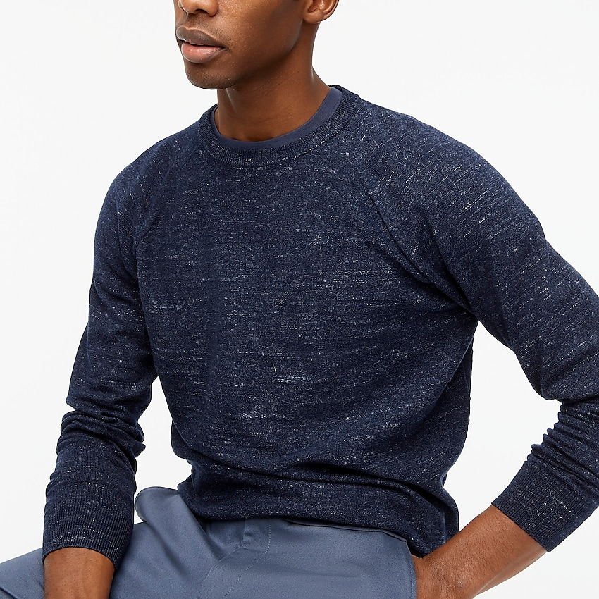 j.crew factory: textured cotton crewneck sweater for men, right side, view zoomed