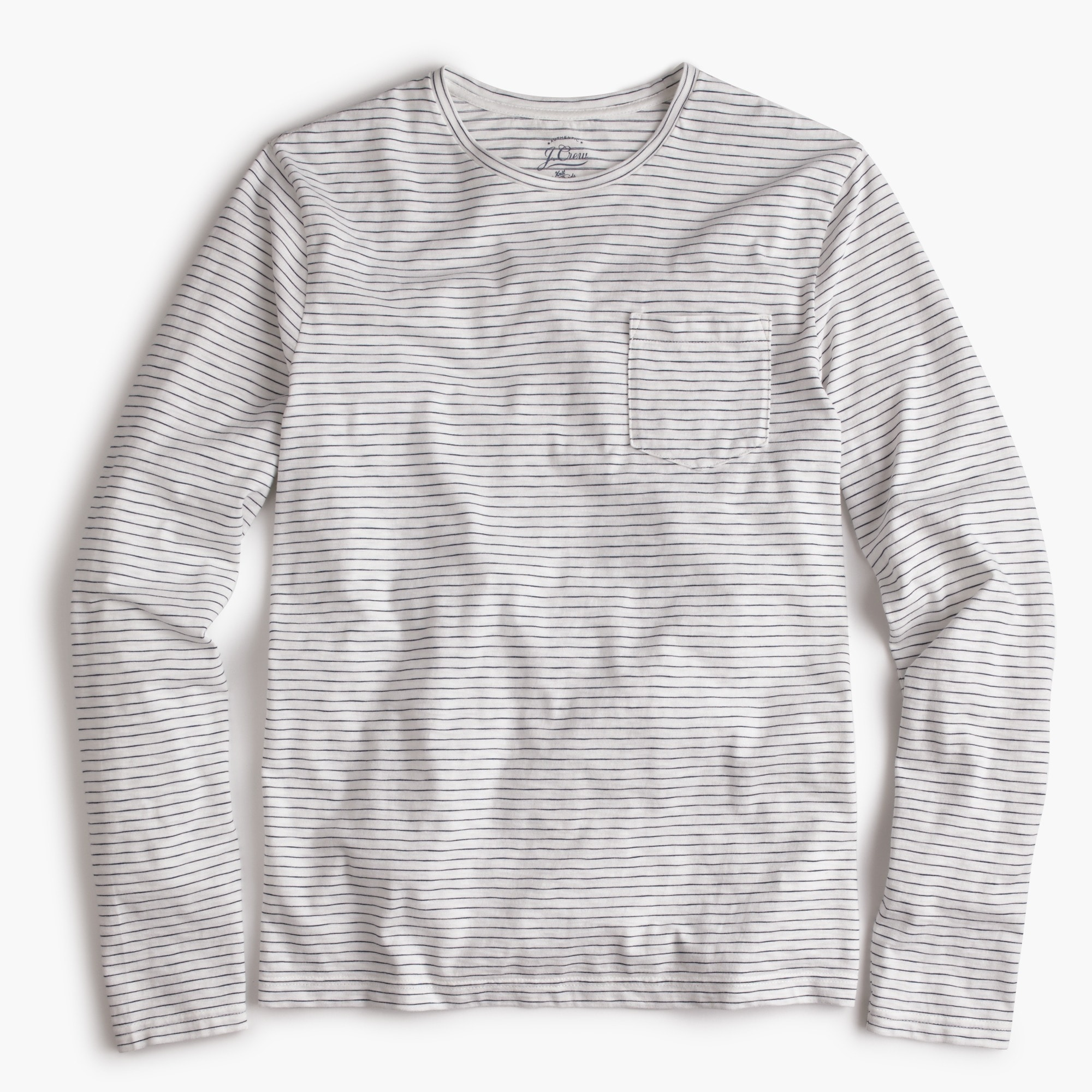 Slub cotton long-sleeve T-shirt in ivory stripe