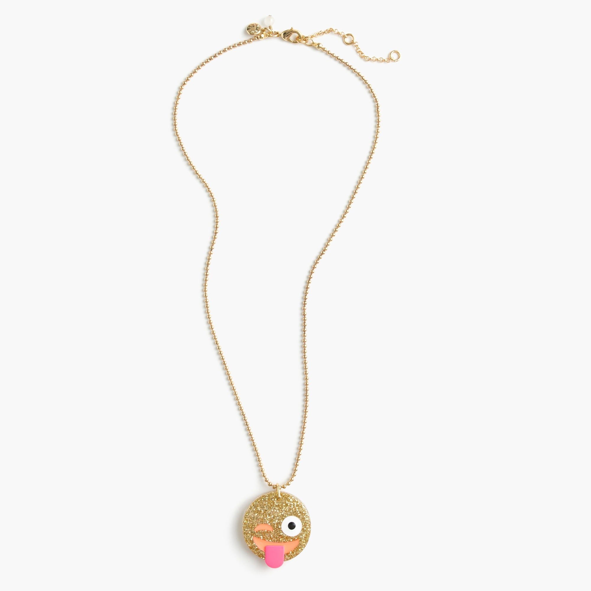 Girls' glitter emoji necklace