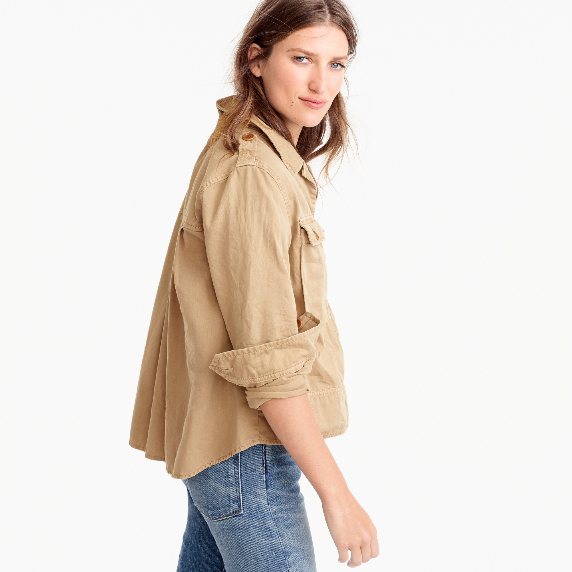 petite garment-dyed safari shirt jacket : women outerwear & blazers