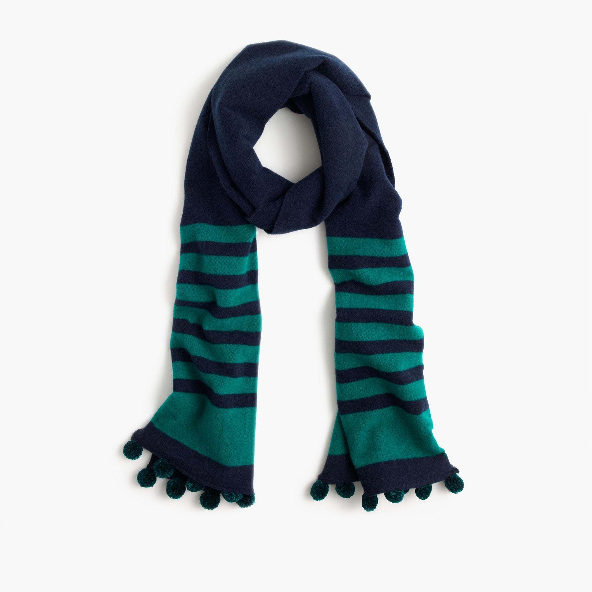 striped scarf with pom-poms : women's winter scarves