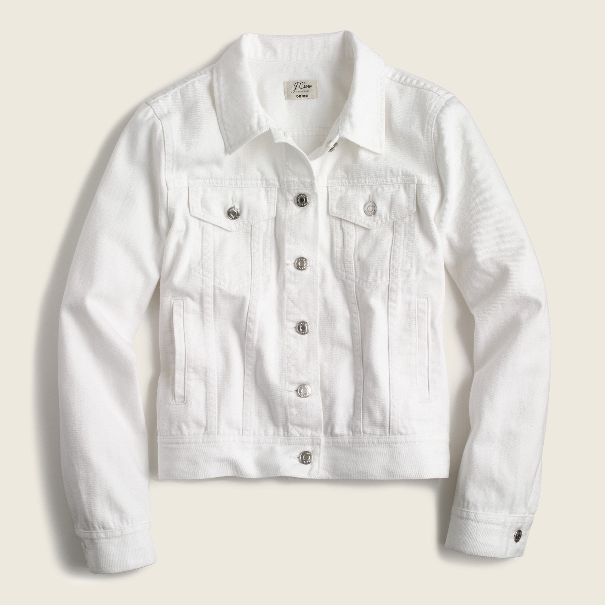 Petite denim jacket in white