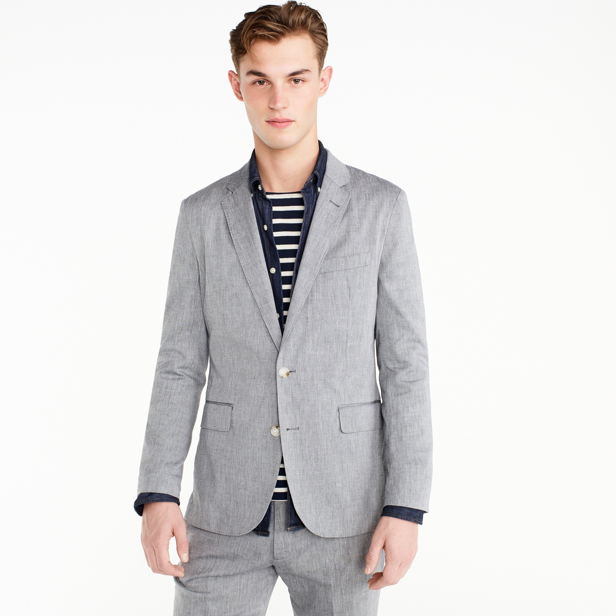 Ludlow Slim-fit unstructured suit jacket in stretch cotton men stretch on demand c