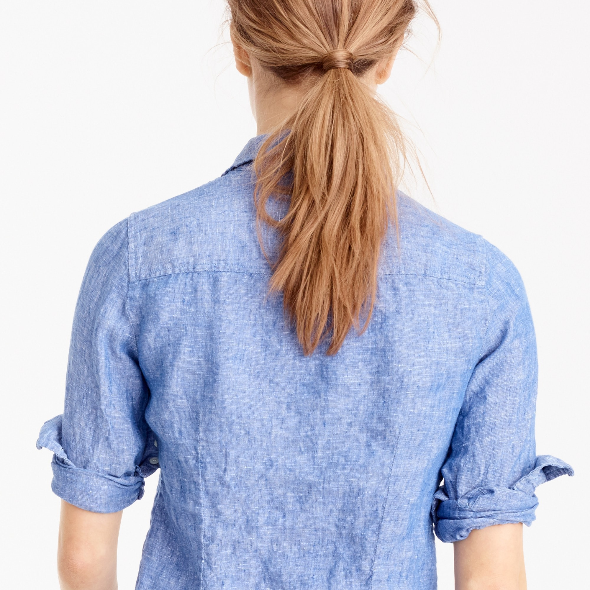 Petite perfect shirt in cross-dyed Irish linen