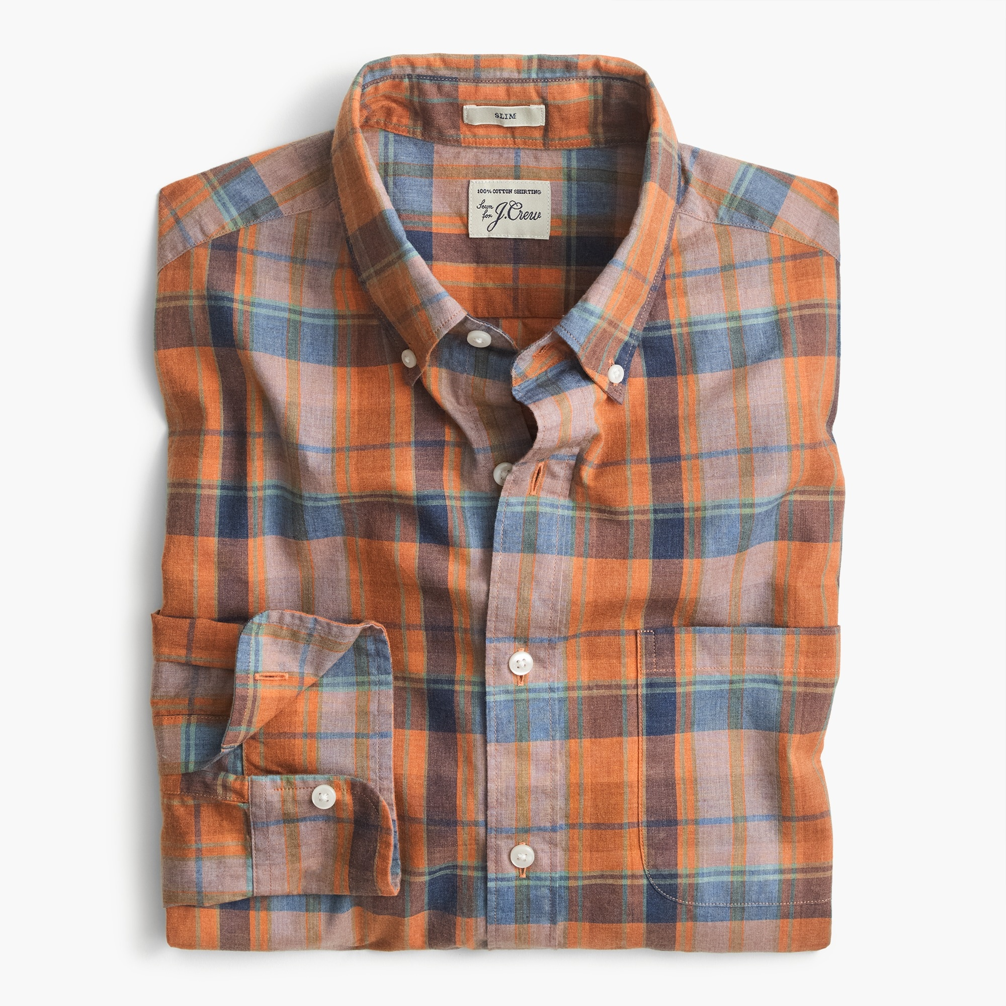 Slim Secret Wash shirt in heather poplin plaid