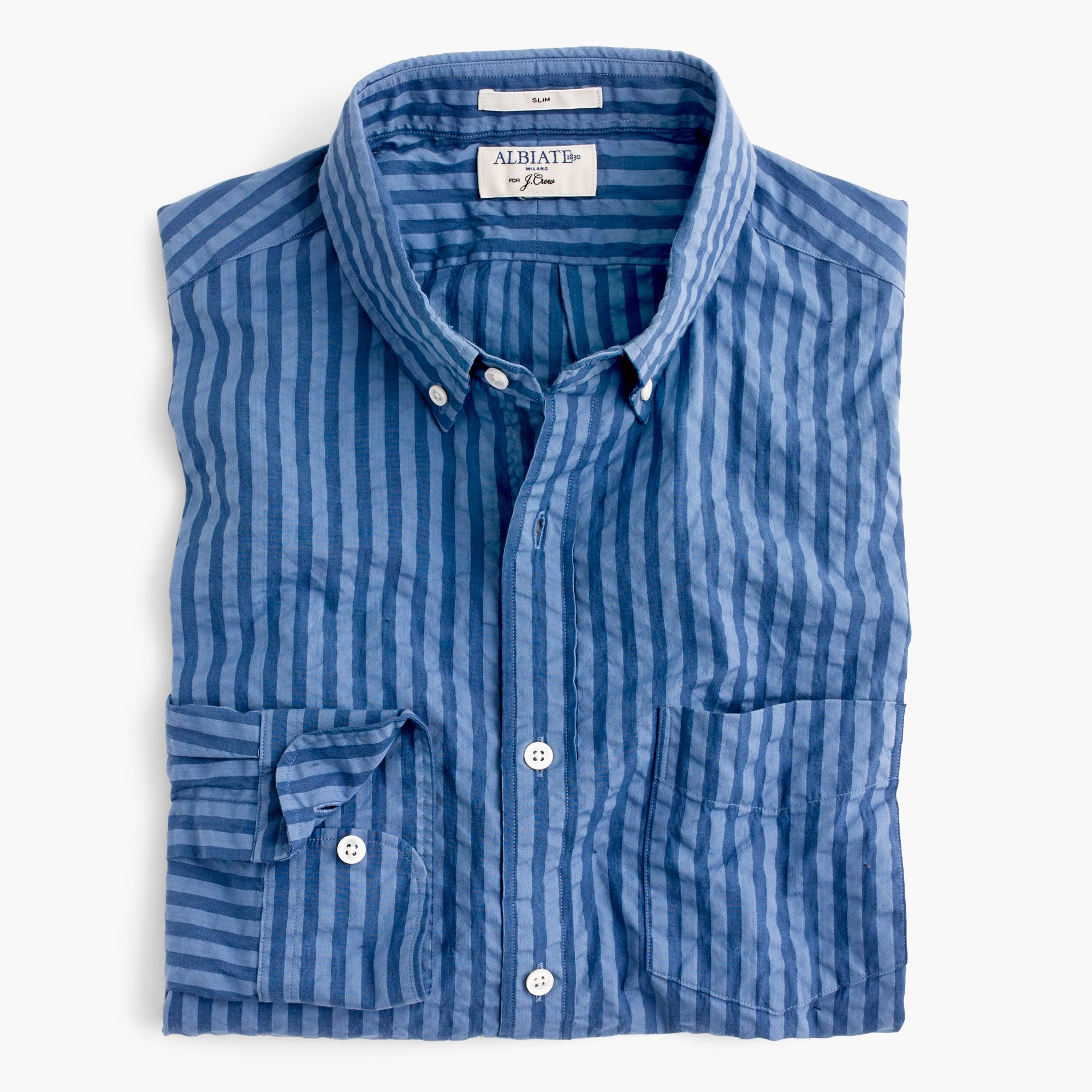 slim albiate 1830 for j.crew washed shirt in indigo seersucker : men slim shirt shop