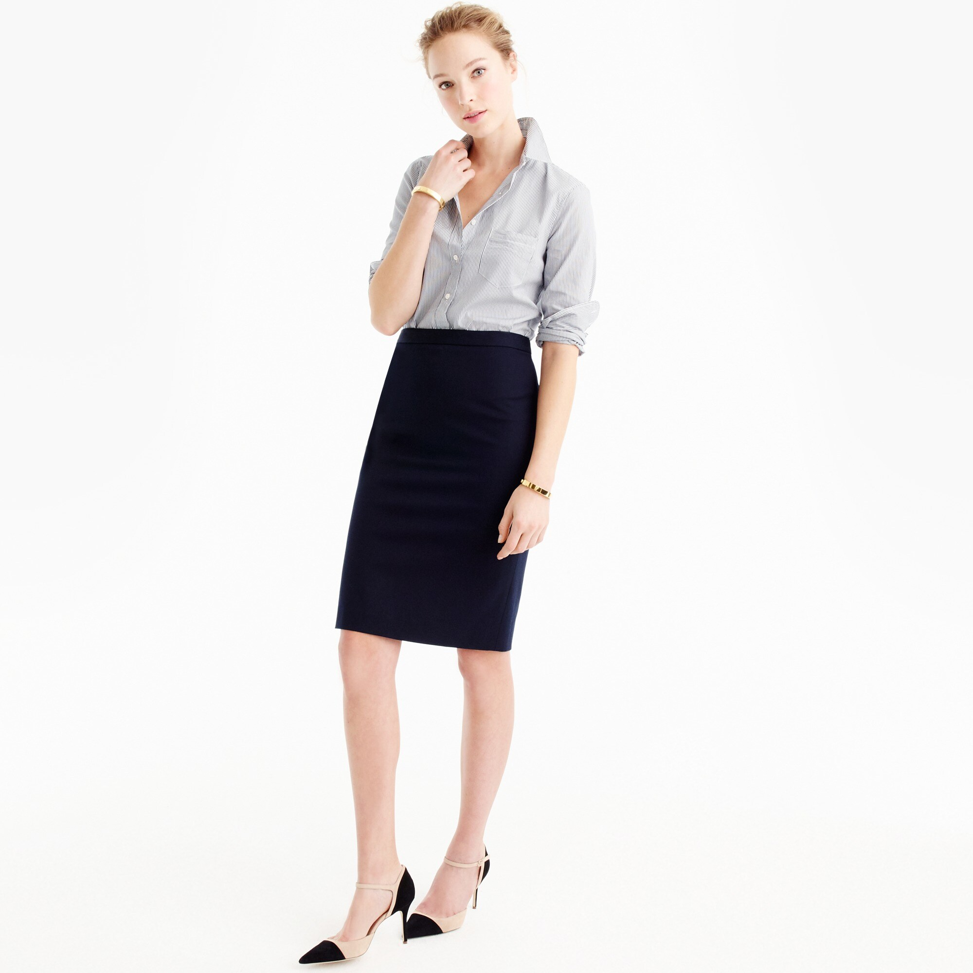 pencil skirt in two-way stretch cotton : women pencil