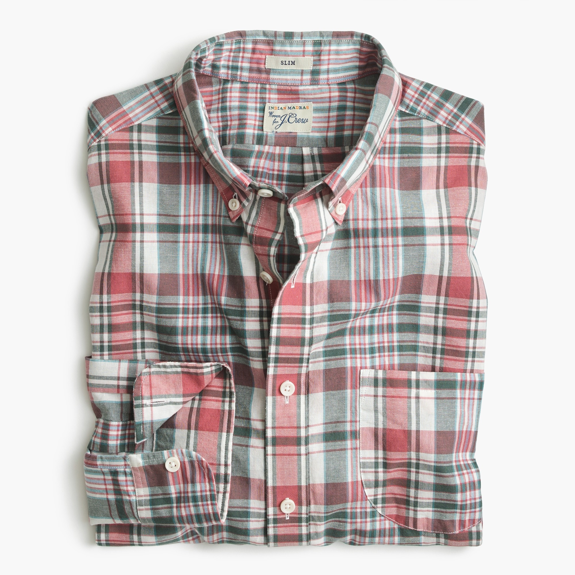 Image 2 for Slim madras shirt in faded plaid