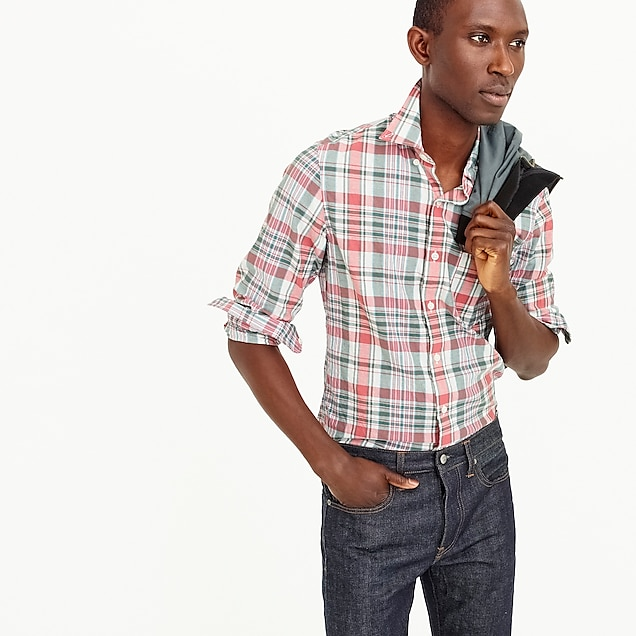 Slim madras shirt in faded plaid