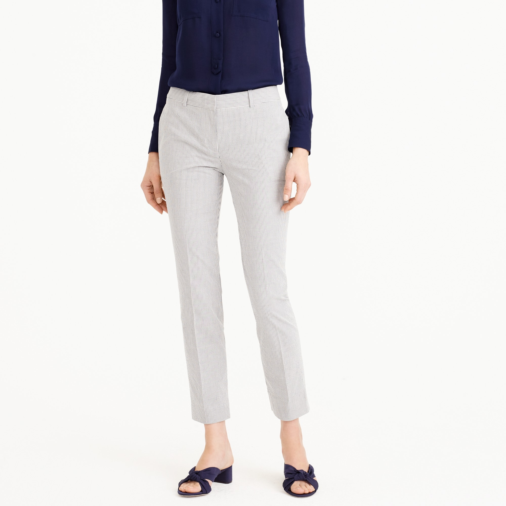 Cropped trouser in seersucker