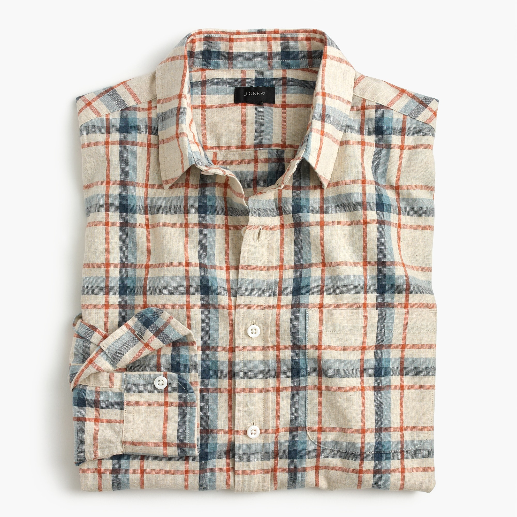 Tall slub cotton shirt in faded plaid