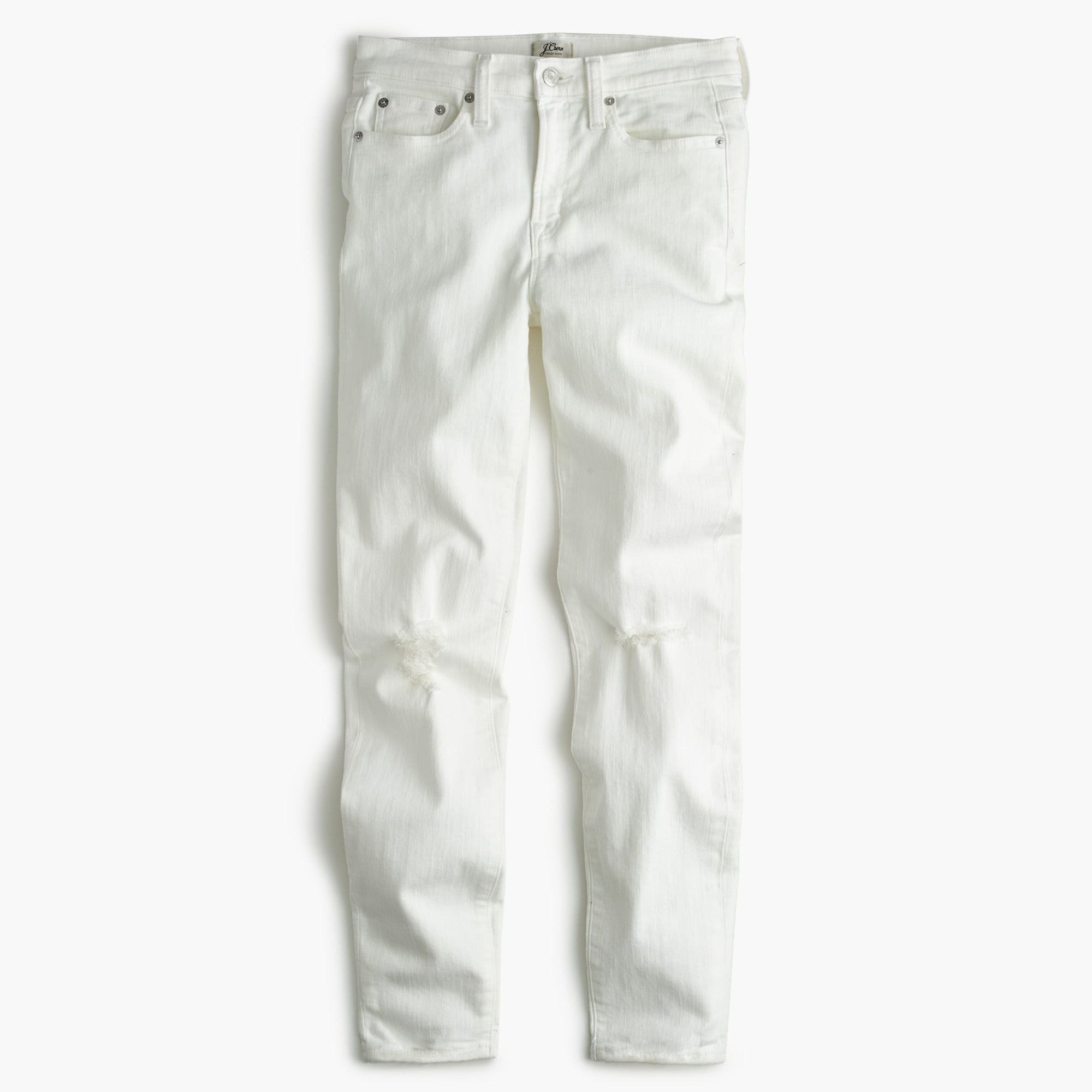 "Petite 9"" destroyed high-rise toothpick crop jean in white"