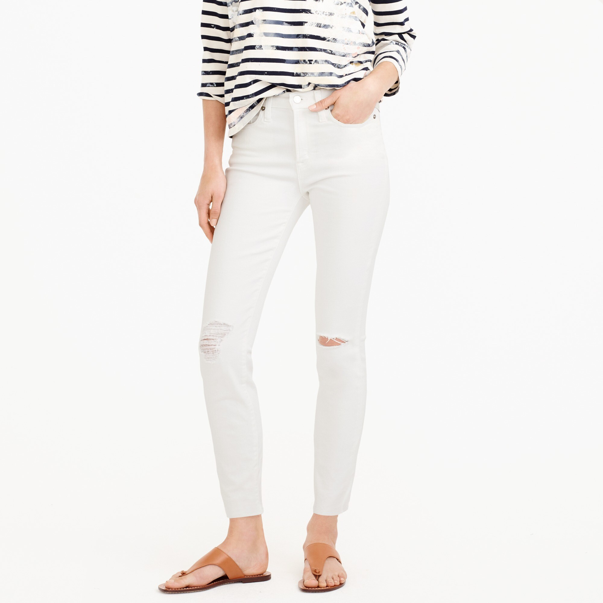 "petite 9"" destroyed high-rise toothpick crop jean in white : women denim"
