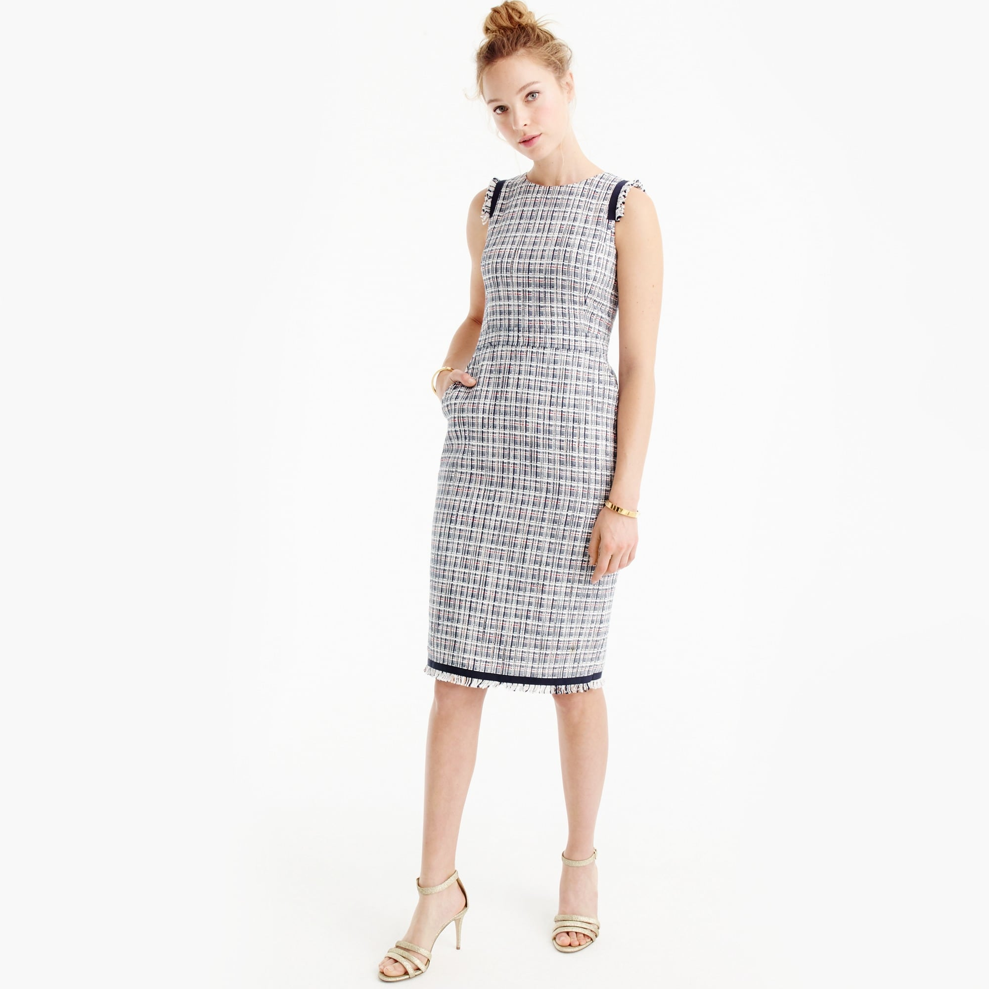 Petite sheath dress in lightweight tweed
