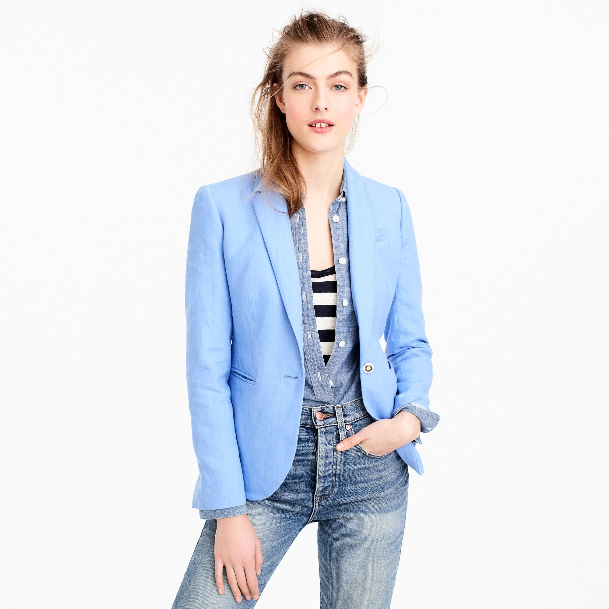 campbell blazer in linen : women campbell