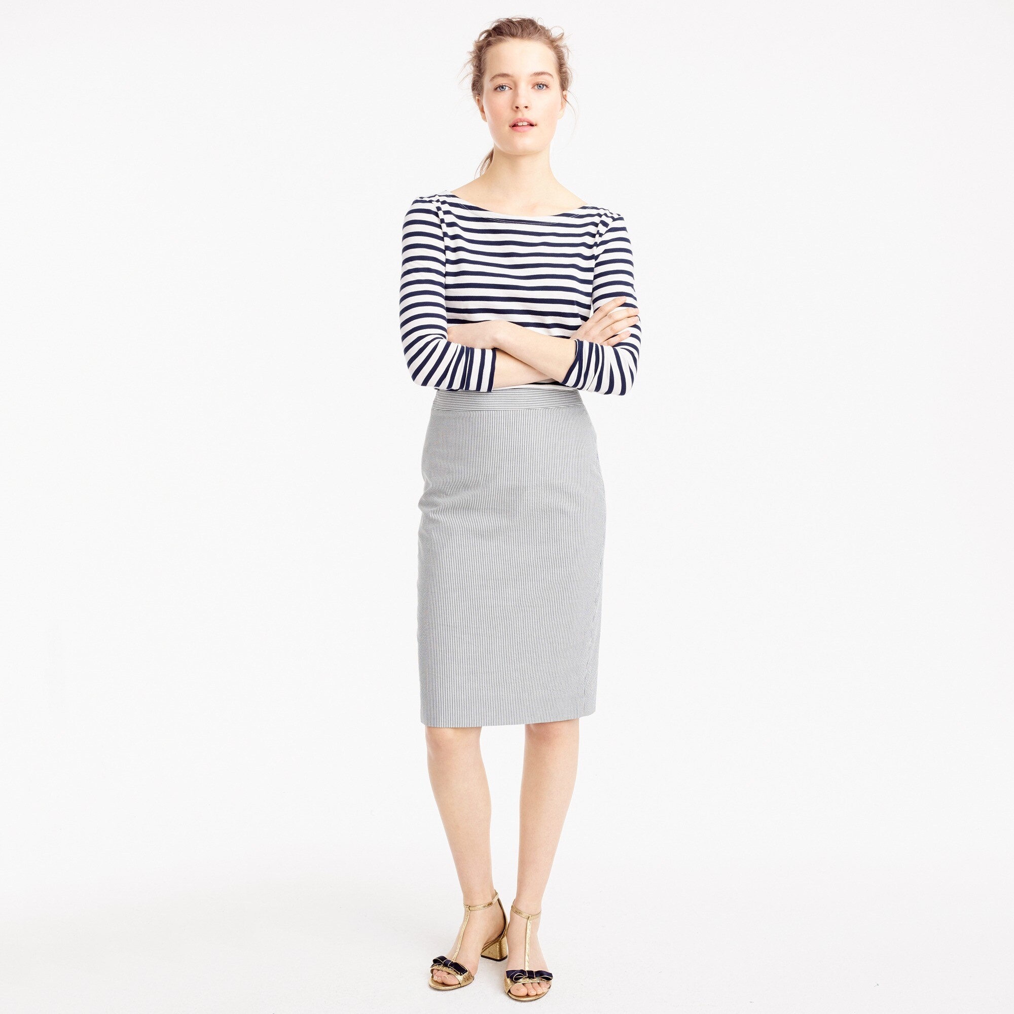 Pencil skirt in seersucker