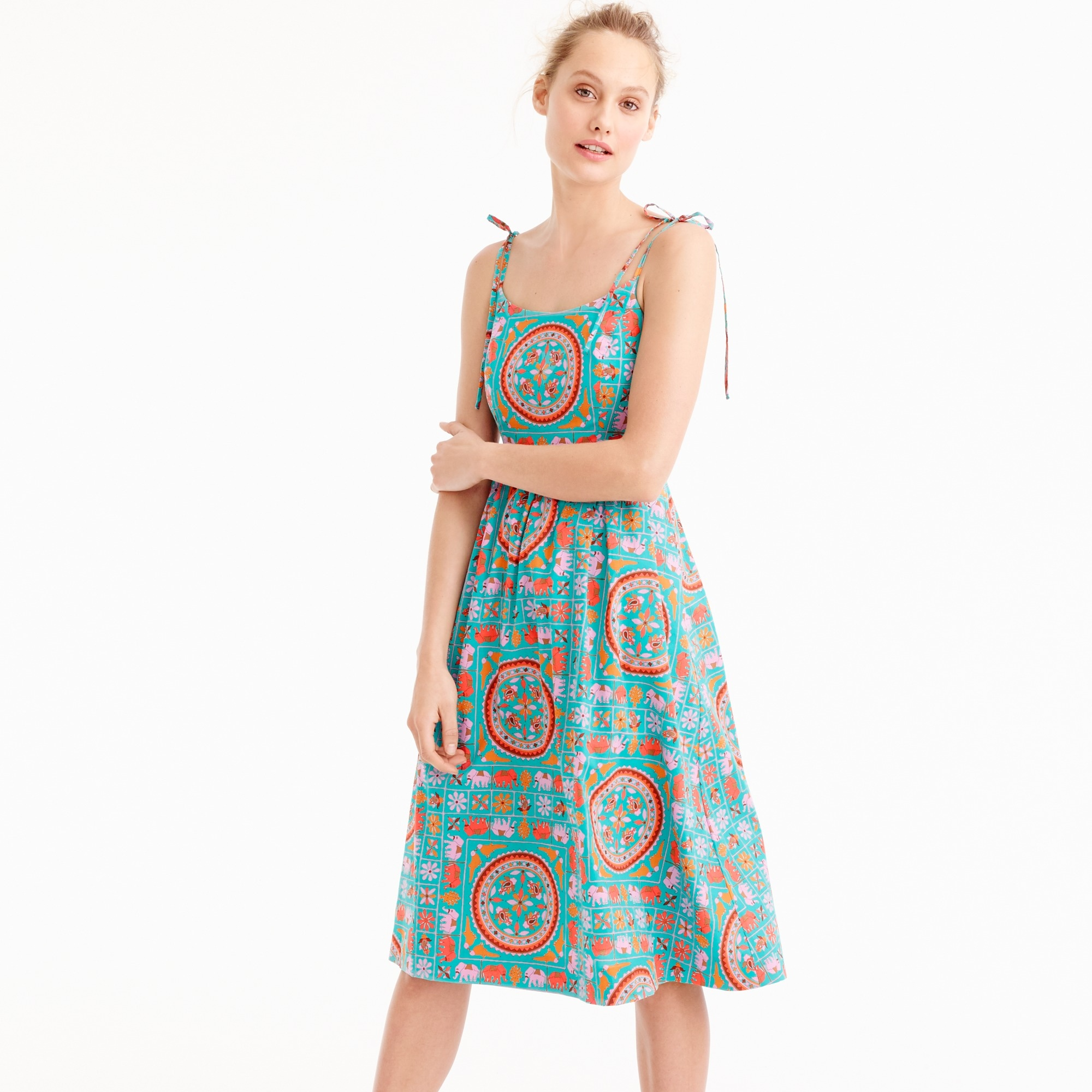 drake's for j.crew tie-shoulder dress in tiled elephant print : women's dresses