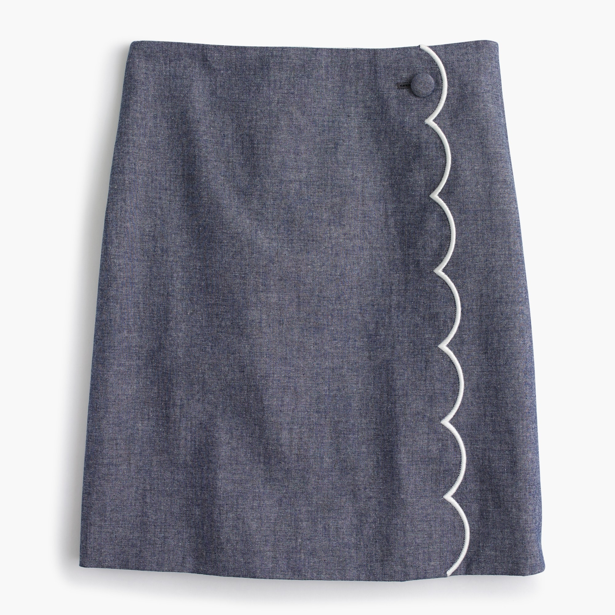 Scalloped chambray skirt