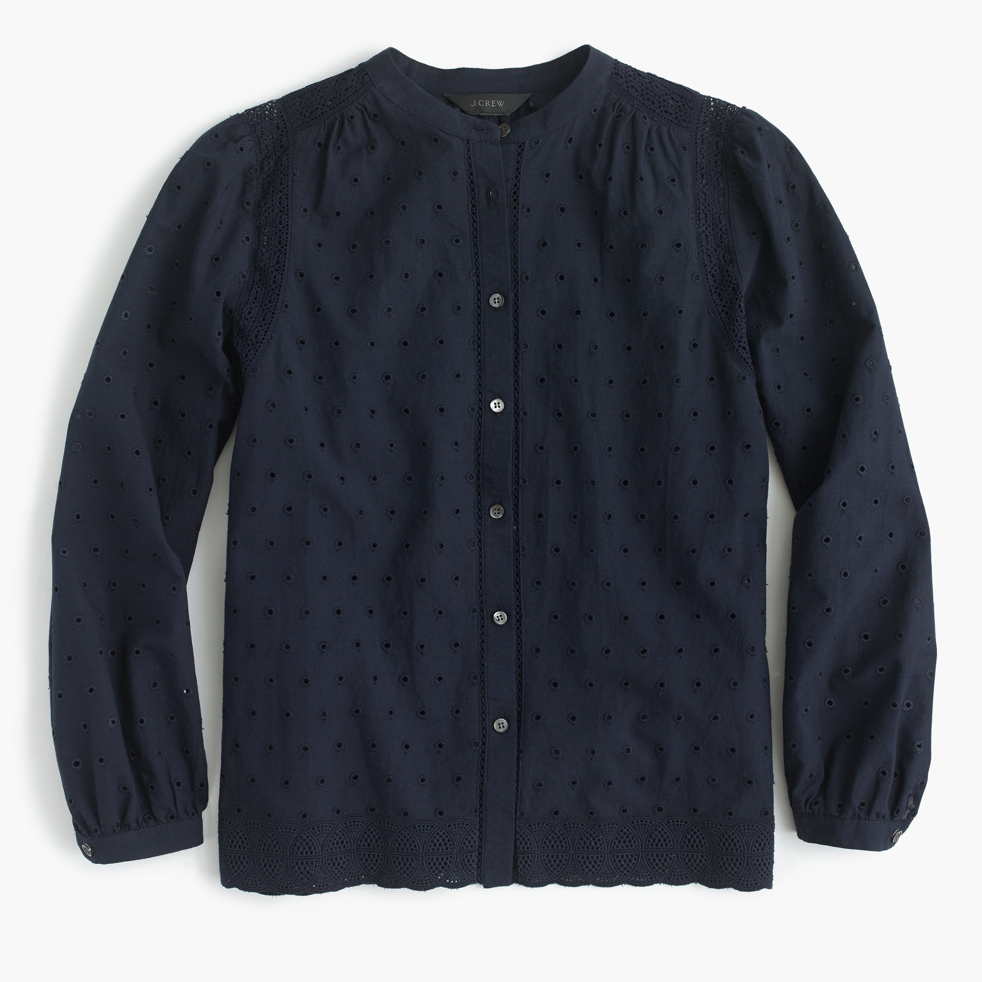Tall eyelet button-up shirt