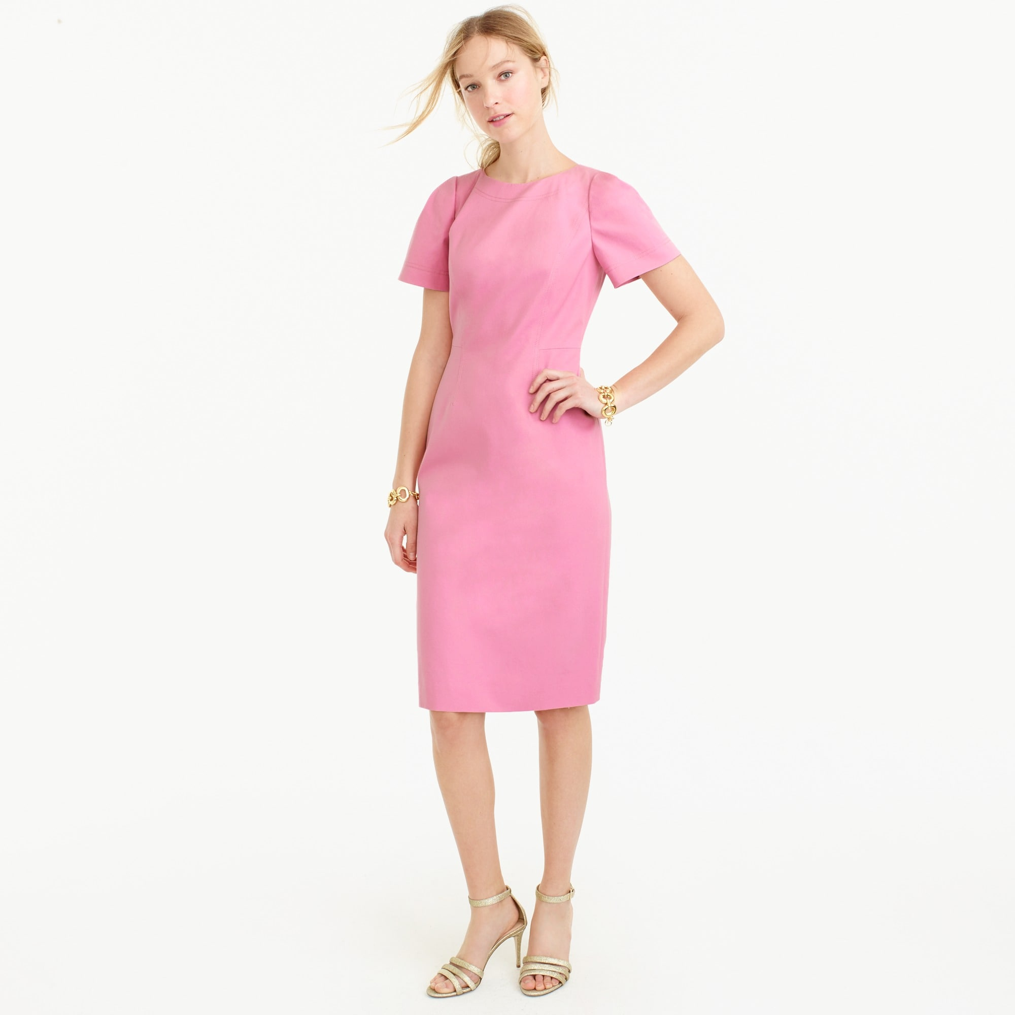 Tall gathered-sleeve dress in two-way stretch cotton women suiting c