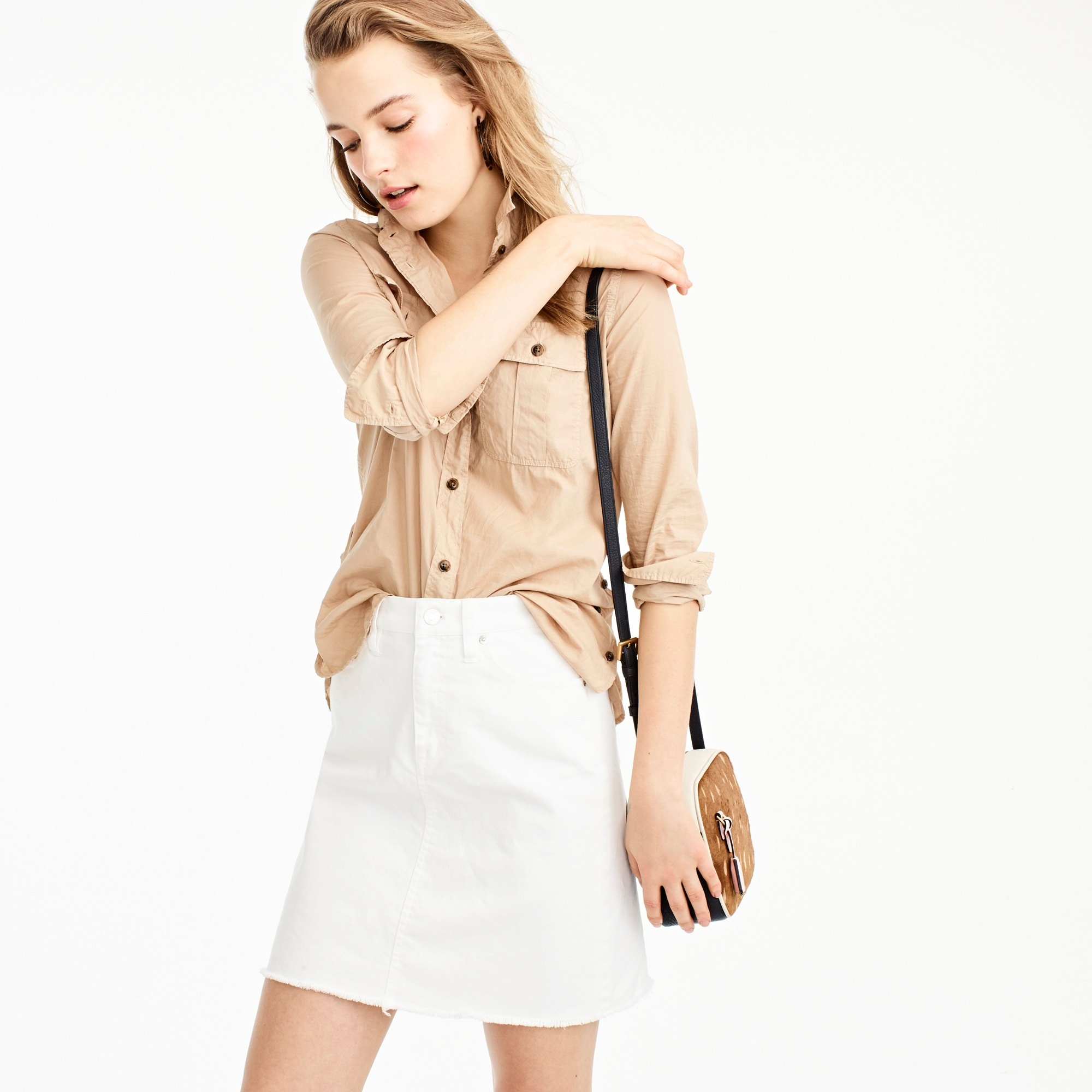 petite white denim skirt with raw hem : women denim