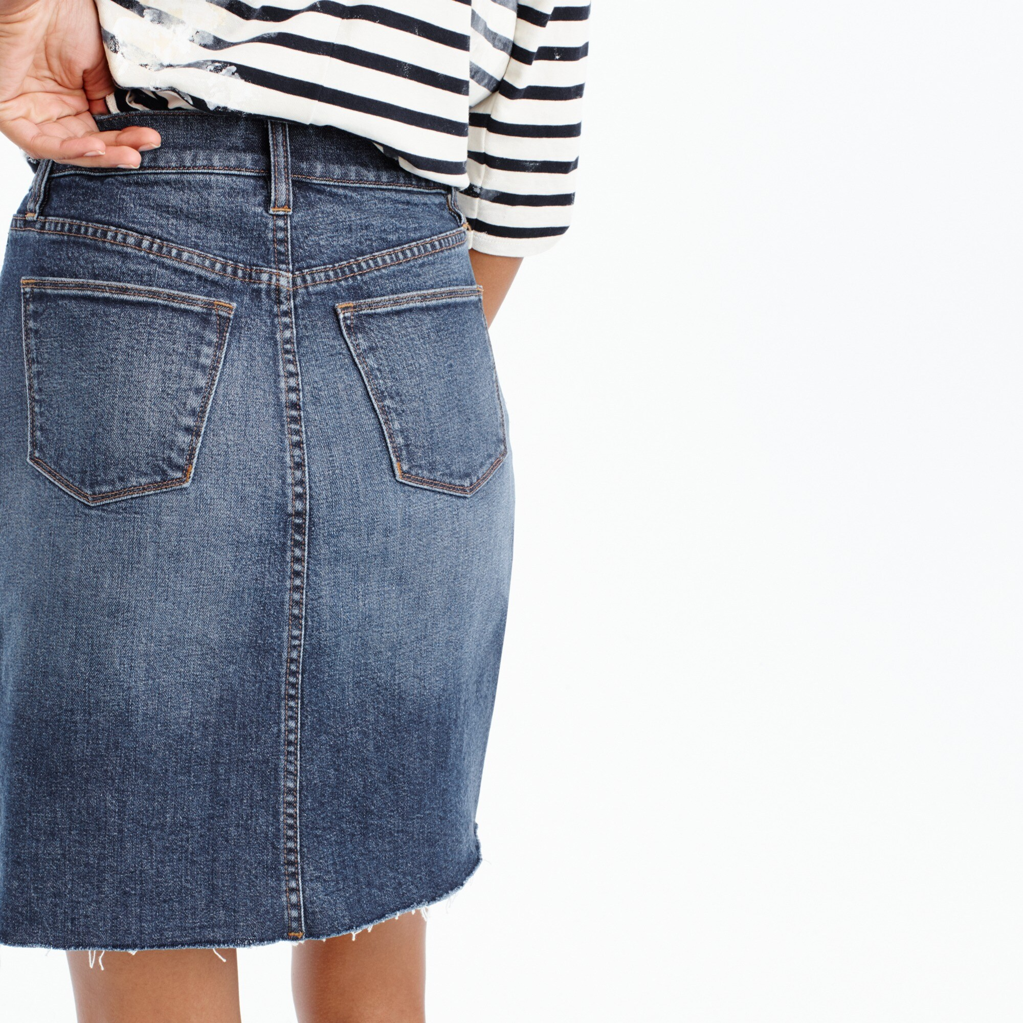 Petite denim skirt with raw hem