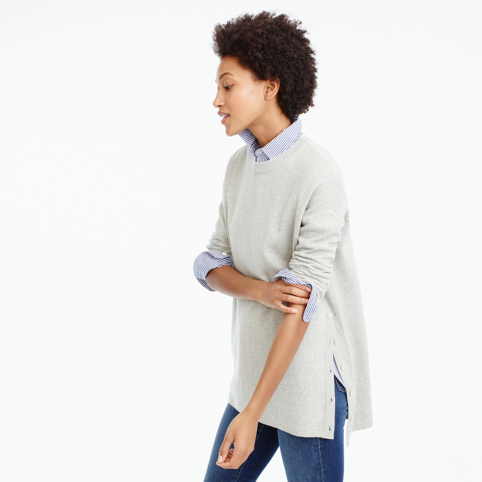 Merino cotton oversized tunic sweater