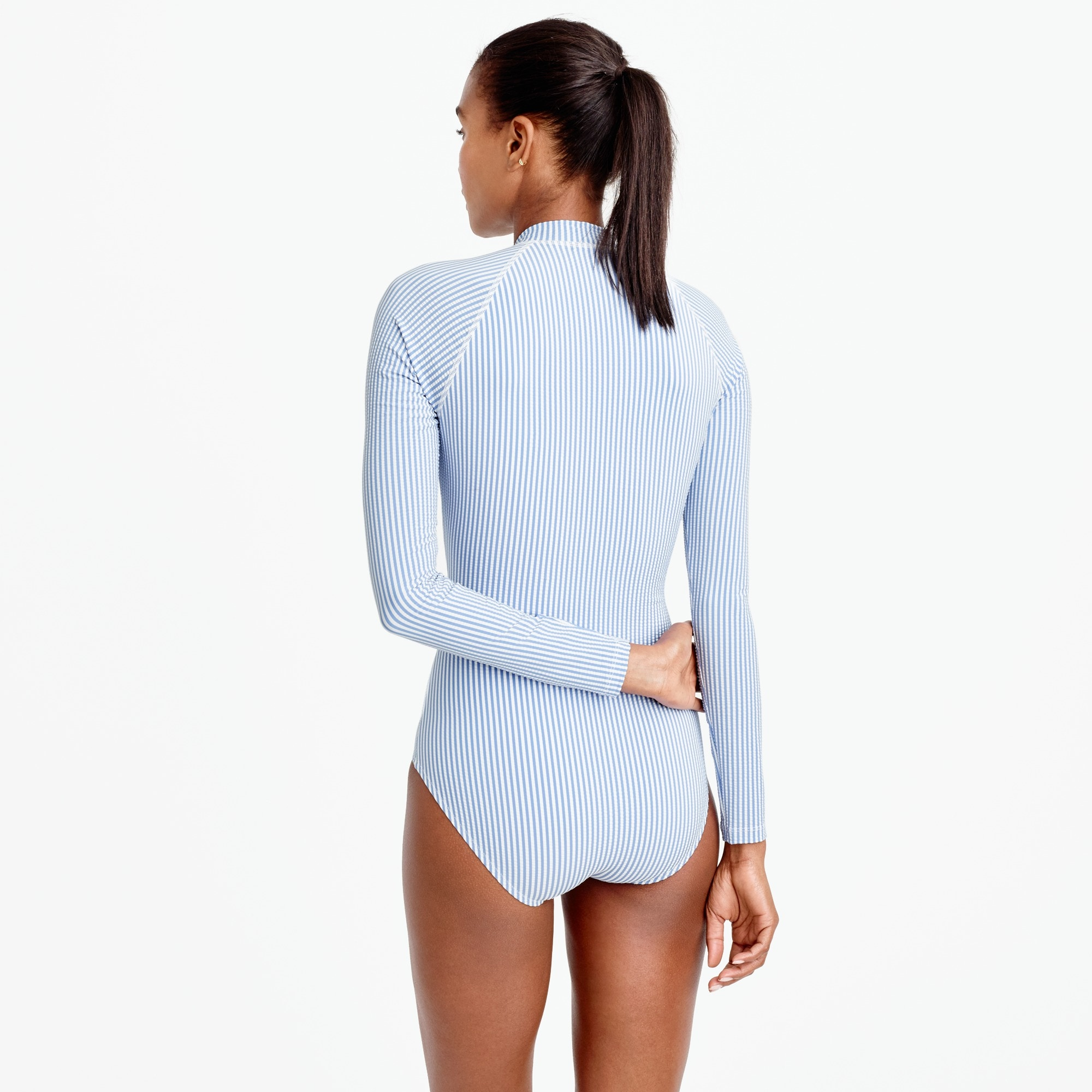Long torso long-sleeve one-piece swimsuit in seersucker