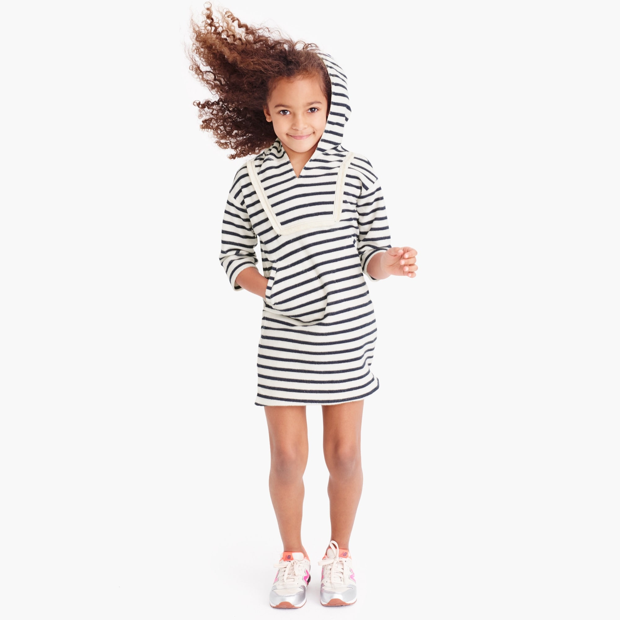 Girls' striped terry hoodie dress