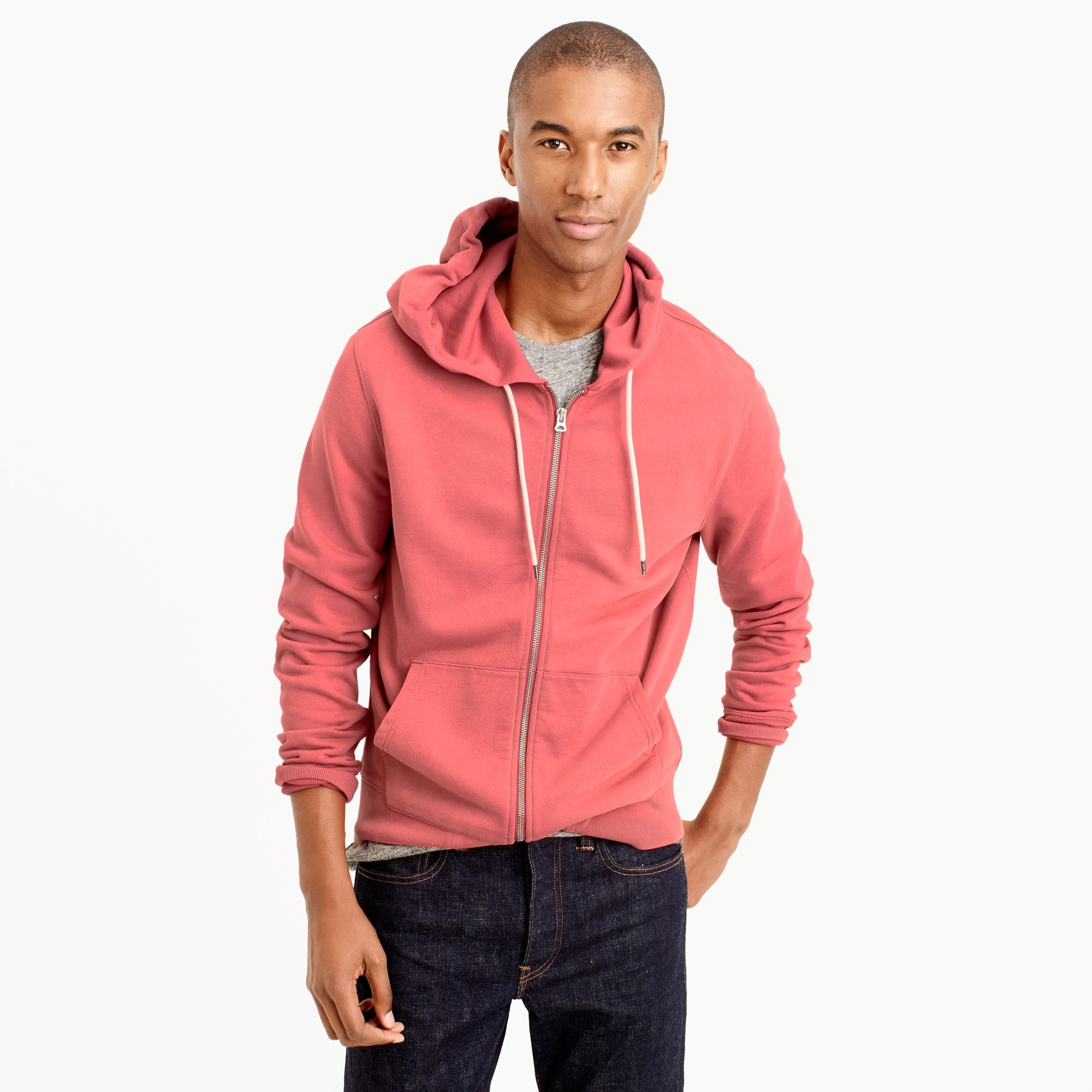 french terry full-zip hoodie : men's hoodies