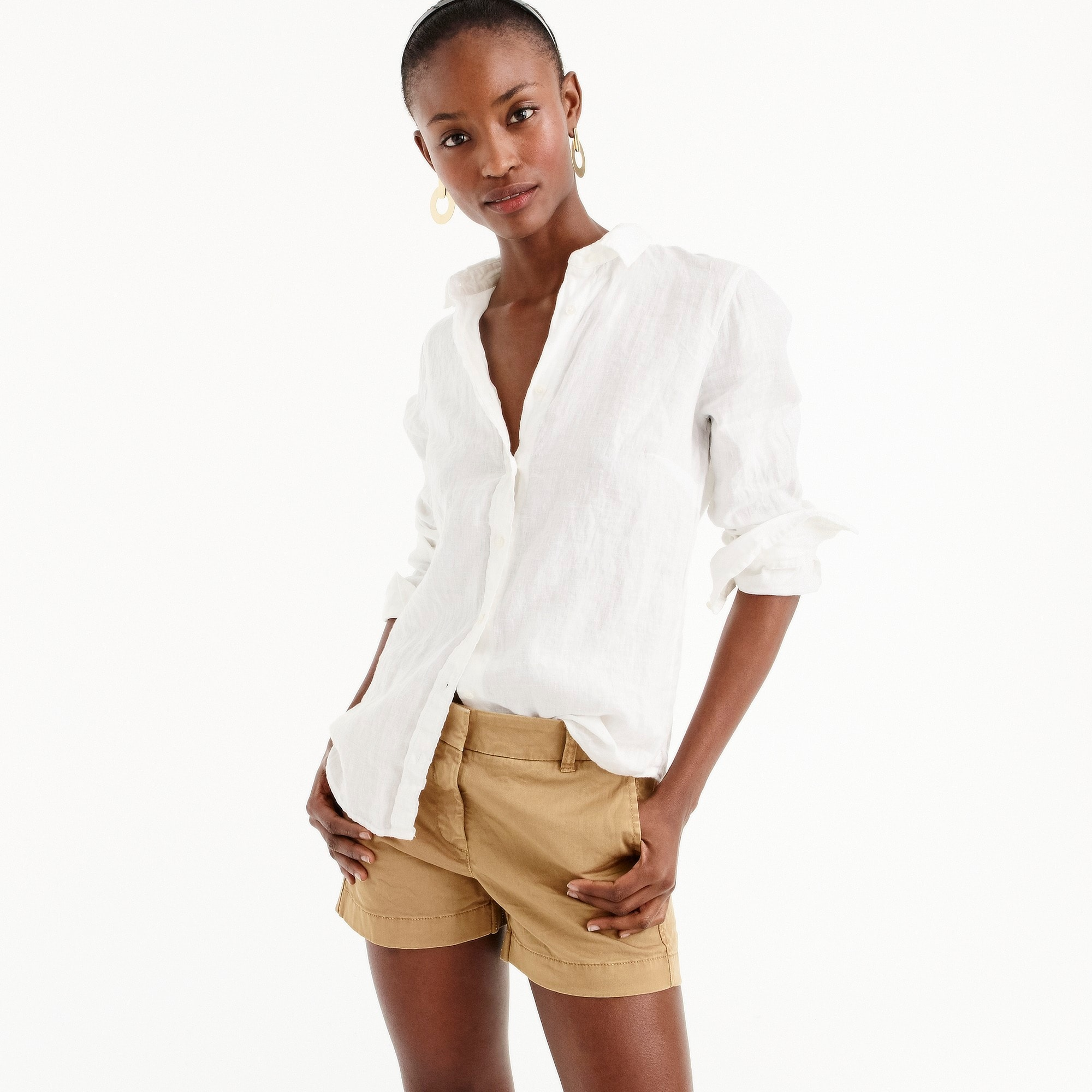 women's tall slim perfect shirt in piece-dyed irish linen - women's button down shirts