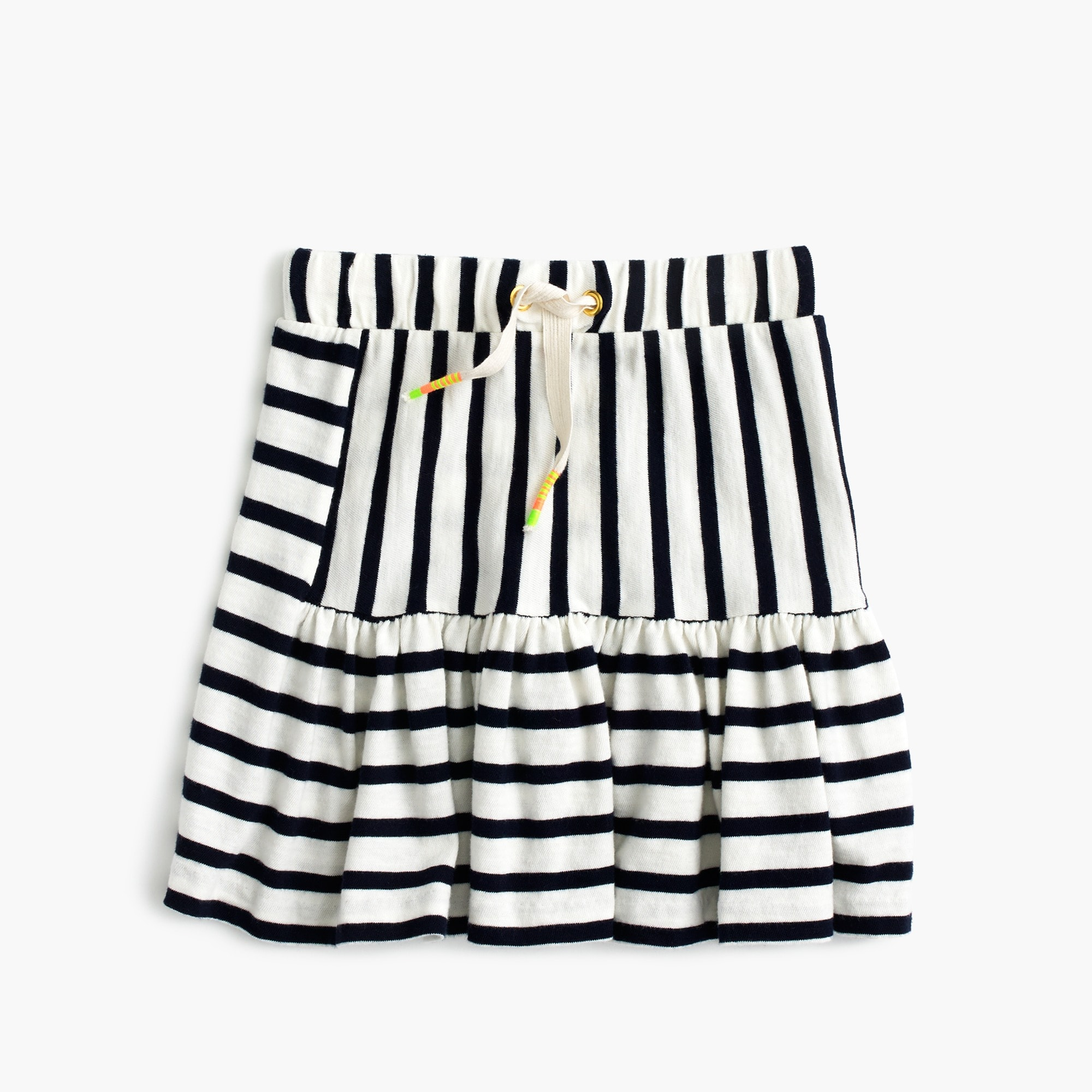 girls' pull-on stripe-panel skirt : girl skirts