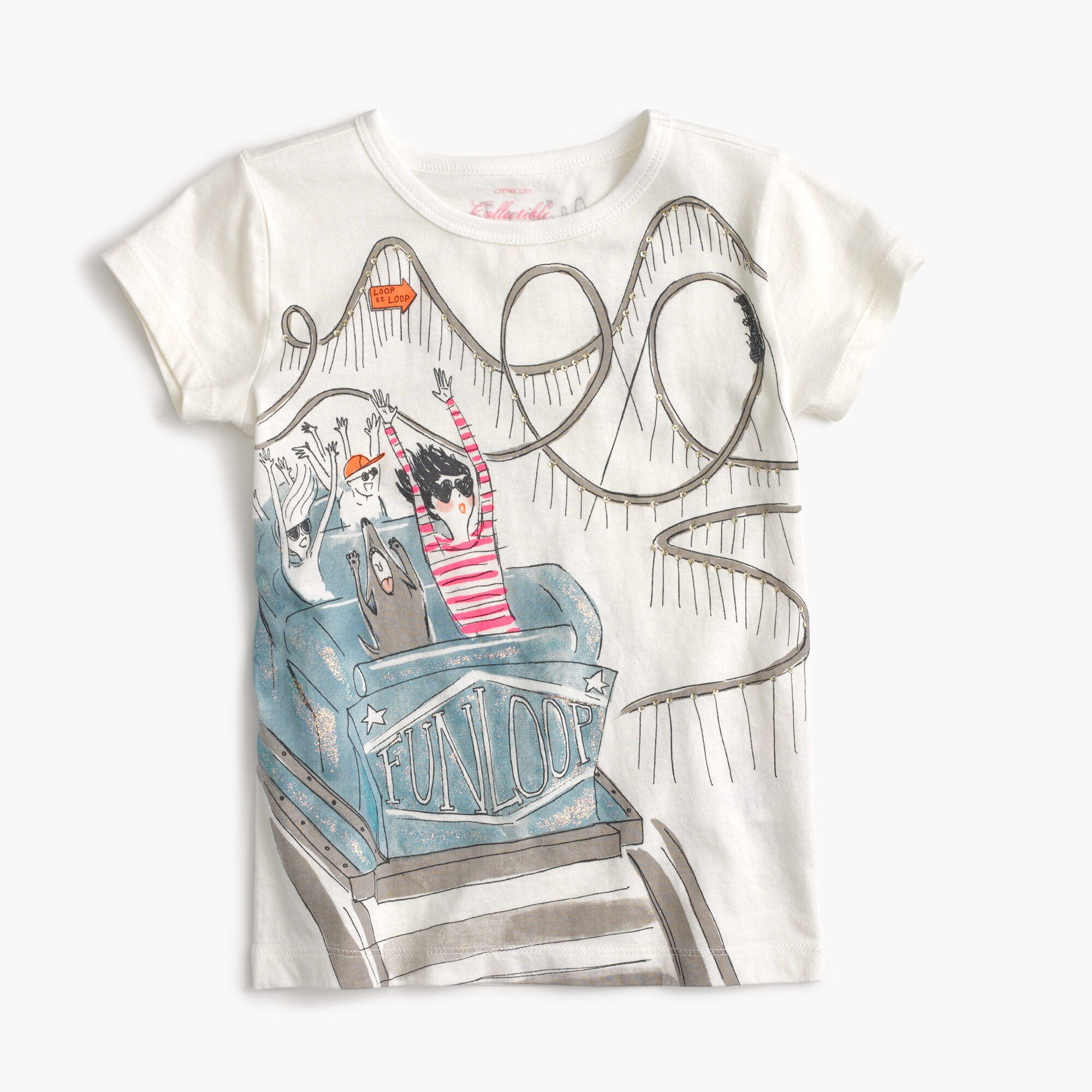 Image 1 for Girls' Olive on roller coaster T-shirt