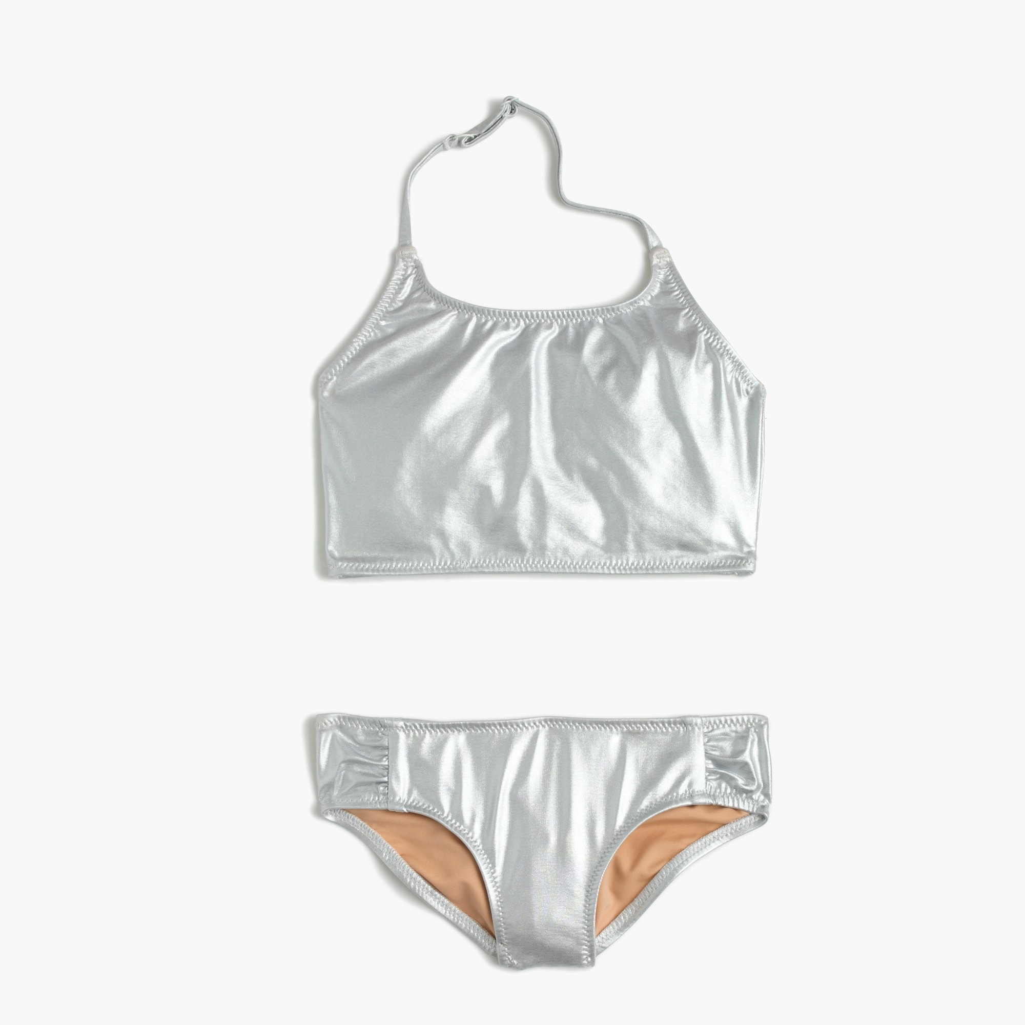 Girls' metallic cropped tankini set