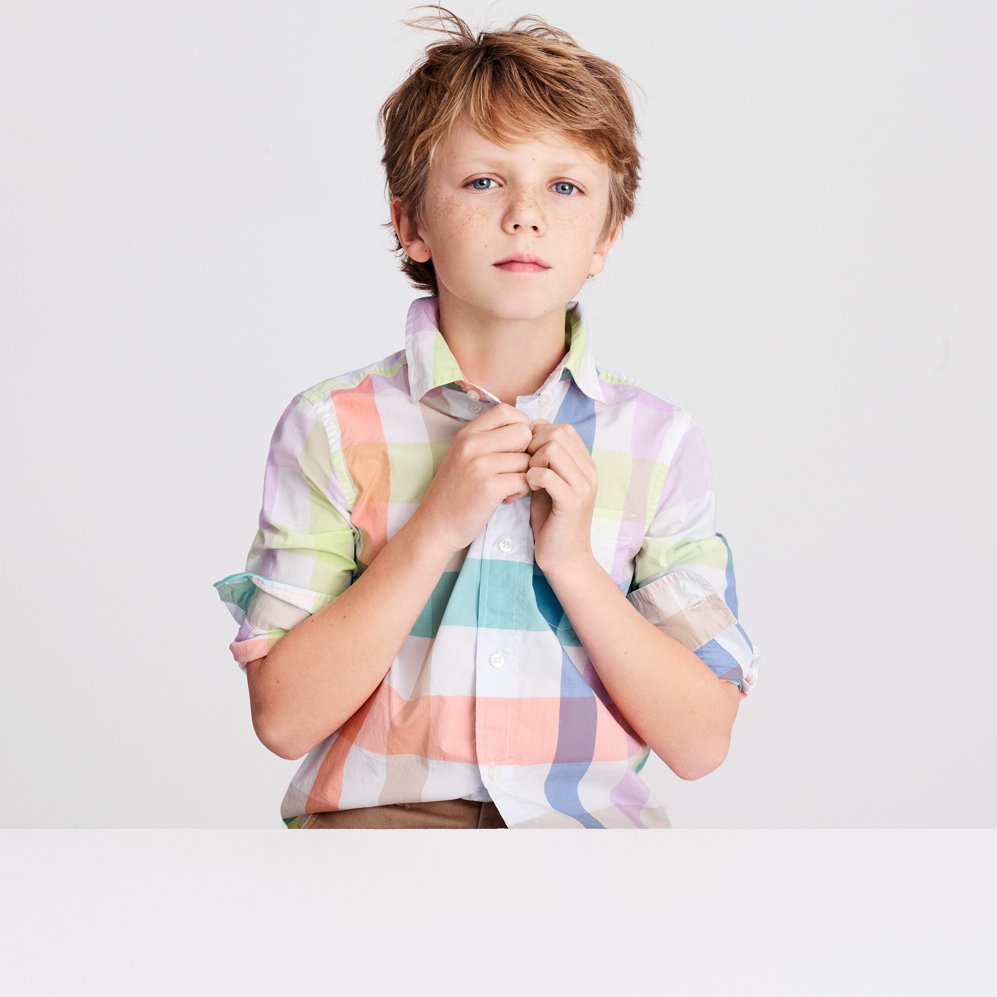 Image 1 for Kids' Secret Wash shirt in pastel gingham