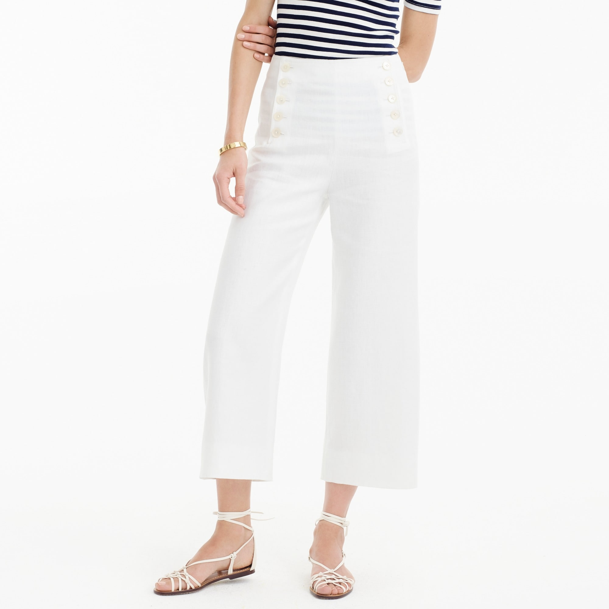 Petite sailor pant in heavy linen
