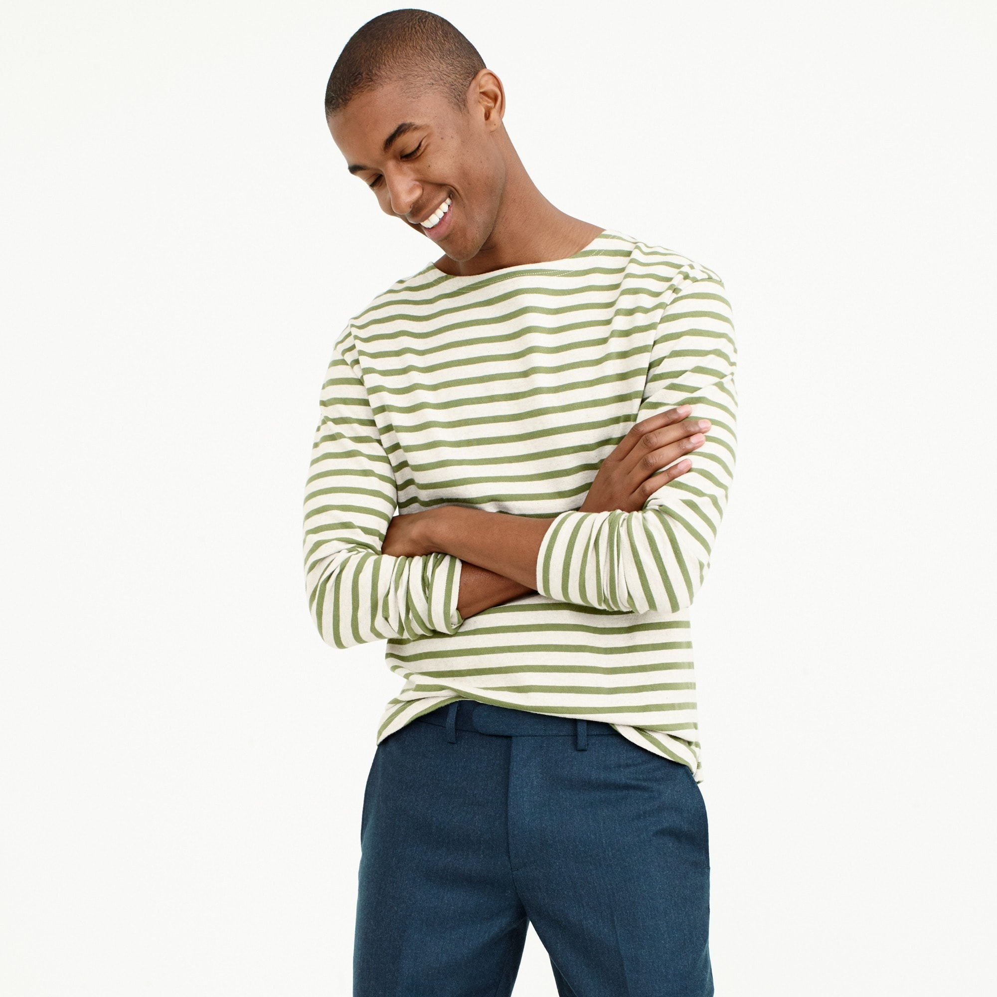 Striped long-sleeve T-shirt in heavyweight jersey